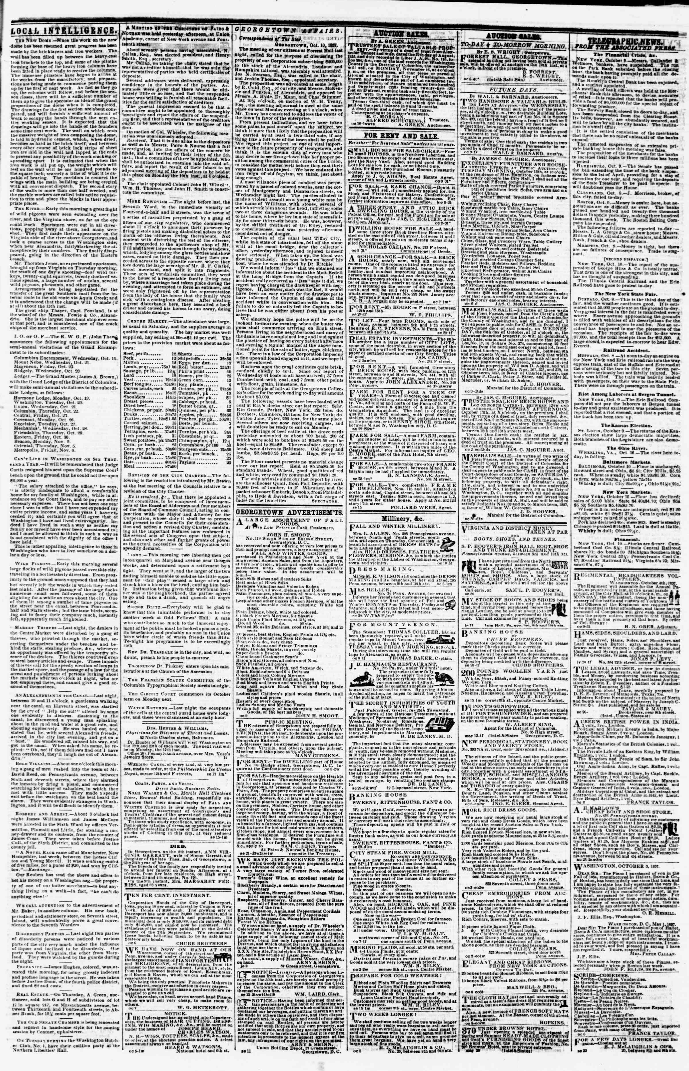 Newspaper of Evening Star dated October 10, 1857 Page 3