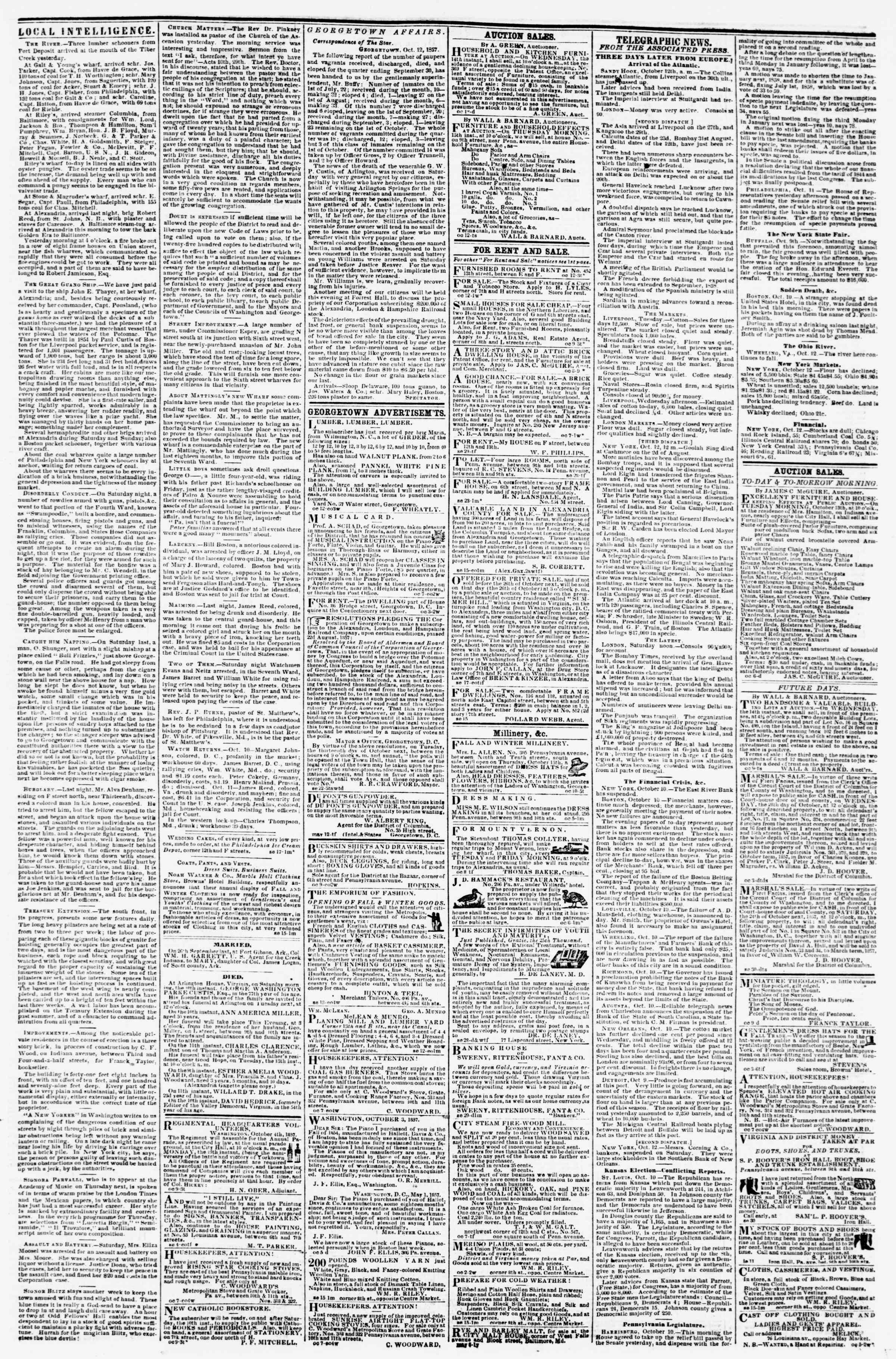 Newspaper of Evening Star dated October 12, 1857 Page 3