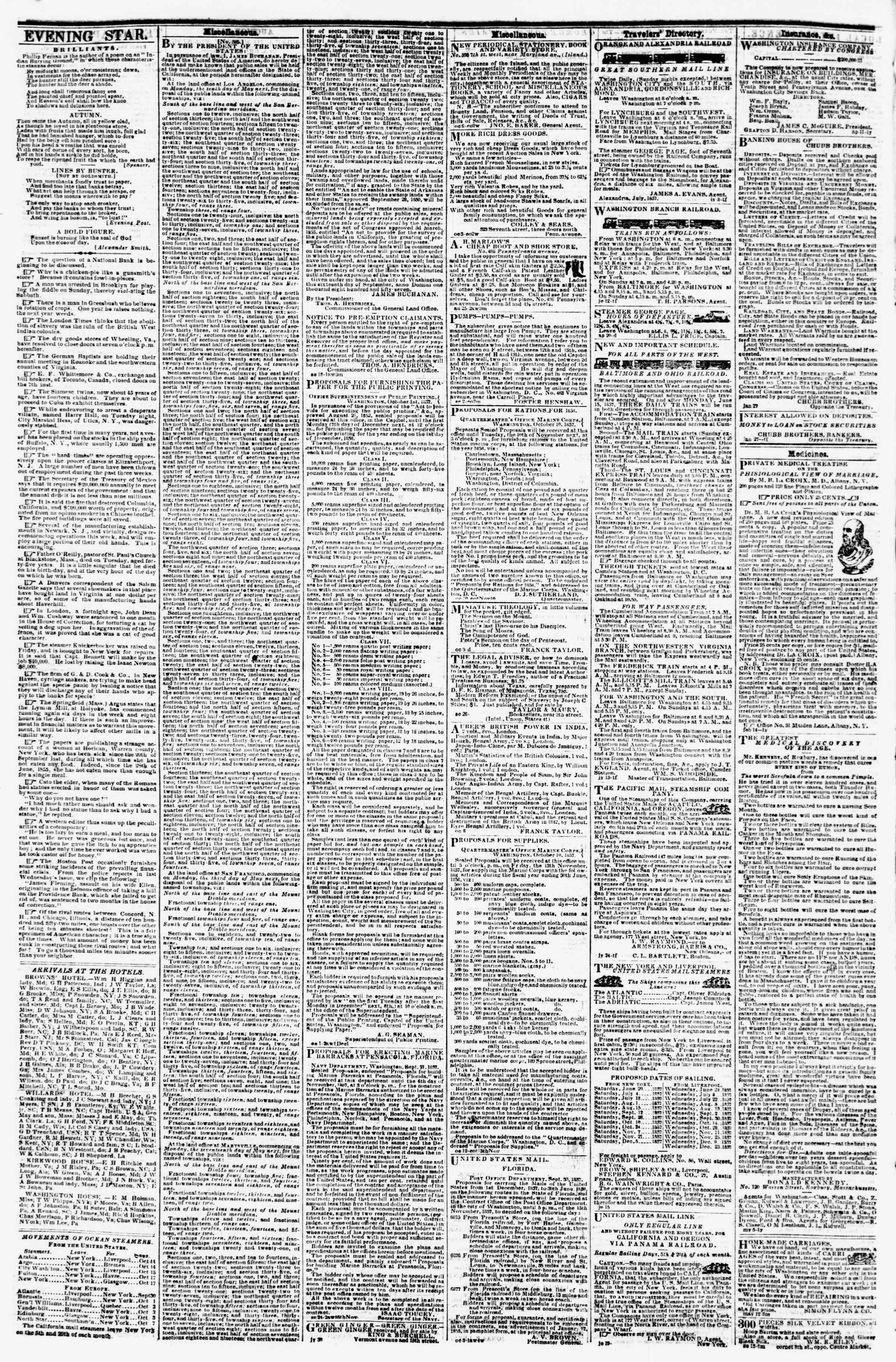 Newspaper of Evening Star dated October 13, 1857 Page 4