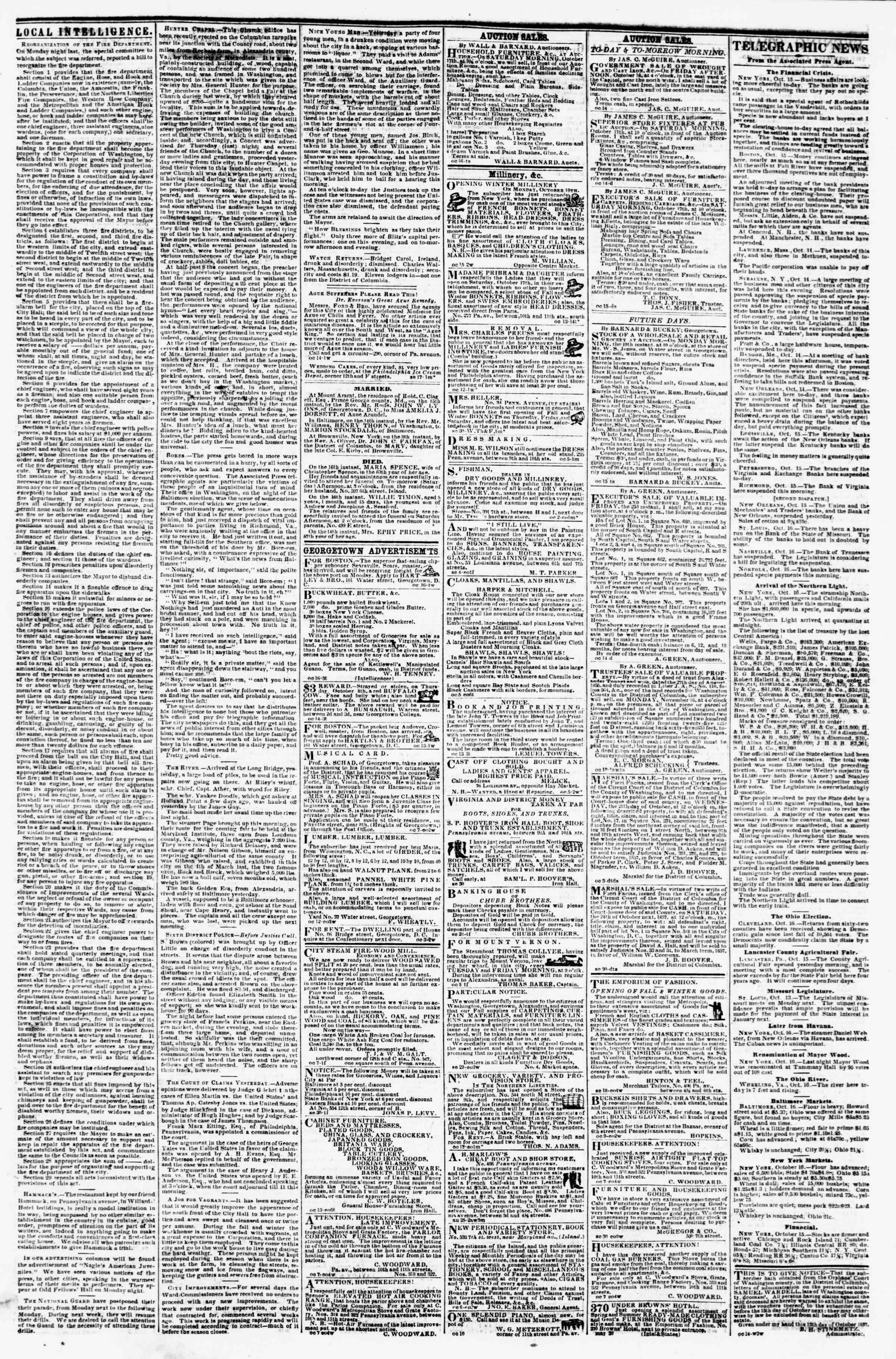Newspaper of Evening Star dated October 16, 1857 Page 3