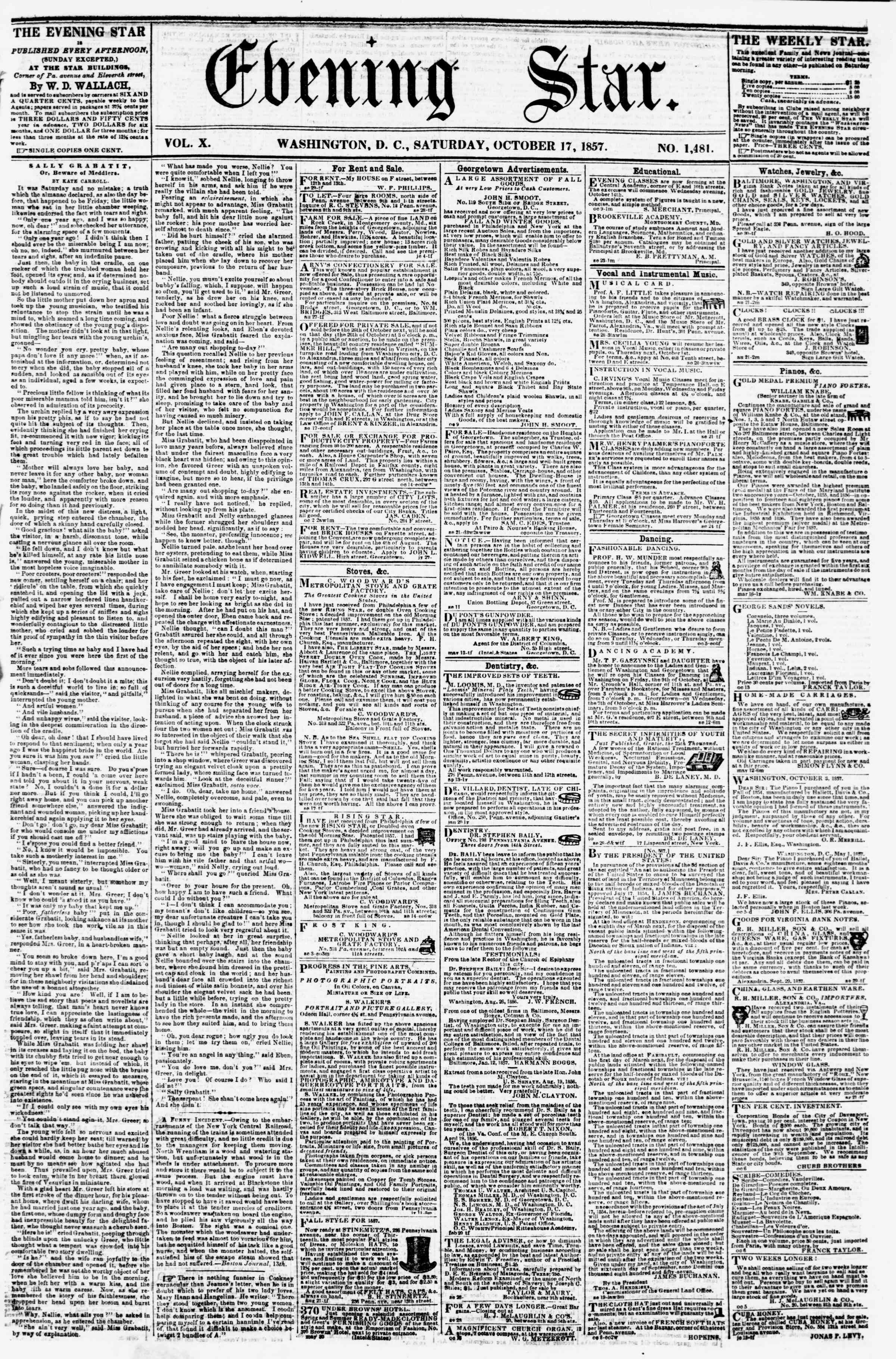 Newspaper of Evening Star dated October 17, 1857 Page 1