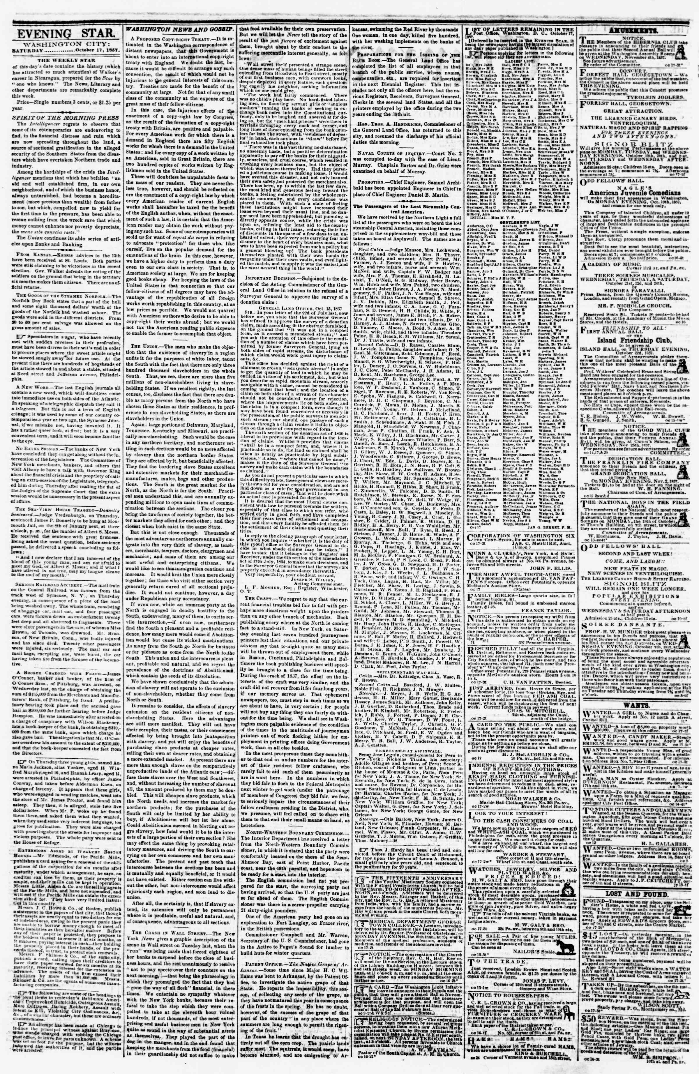 Newspaper of Evening Star dated October 17, 1857 Page 2