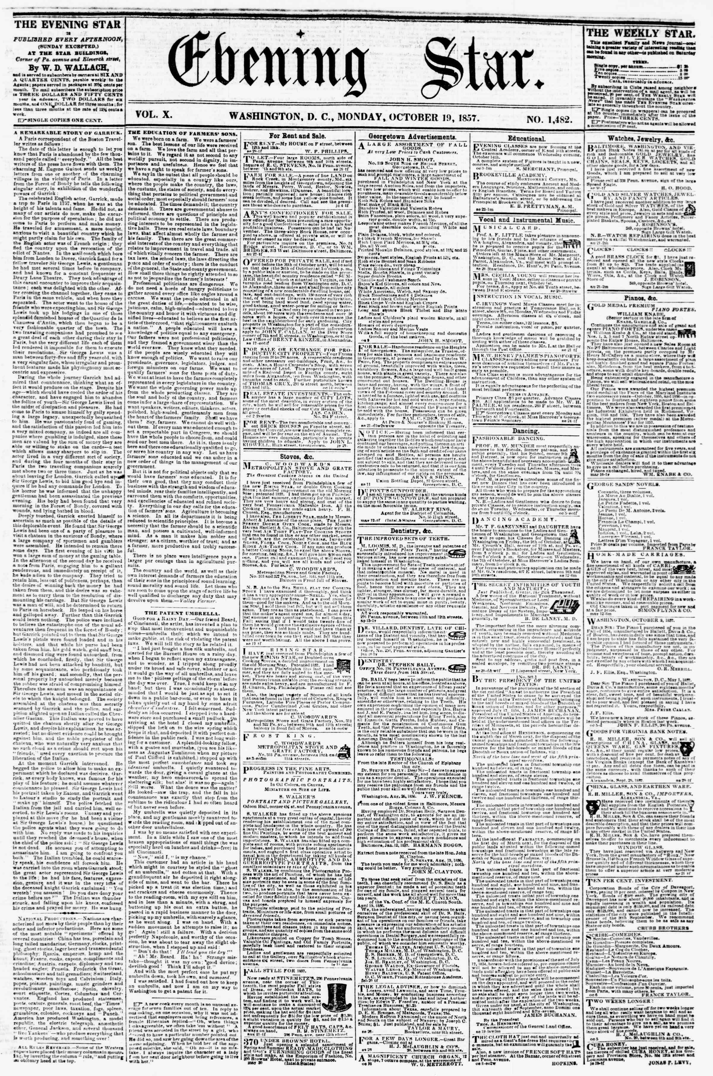 Newspaper of Evening Star dated October 19, 1857 Page 1