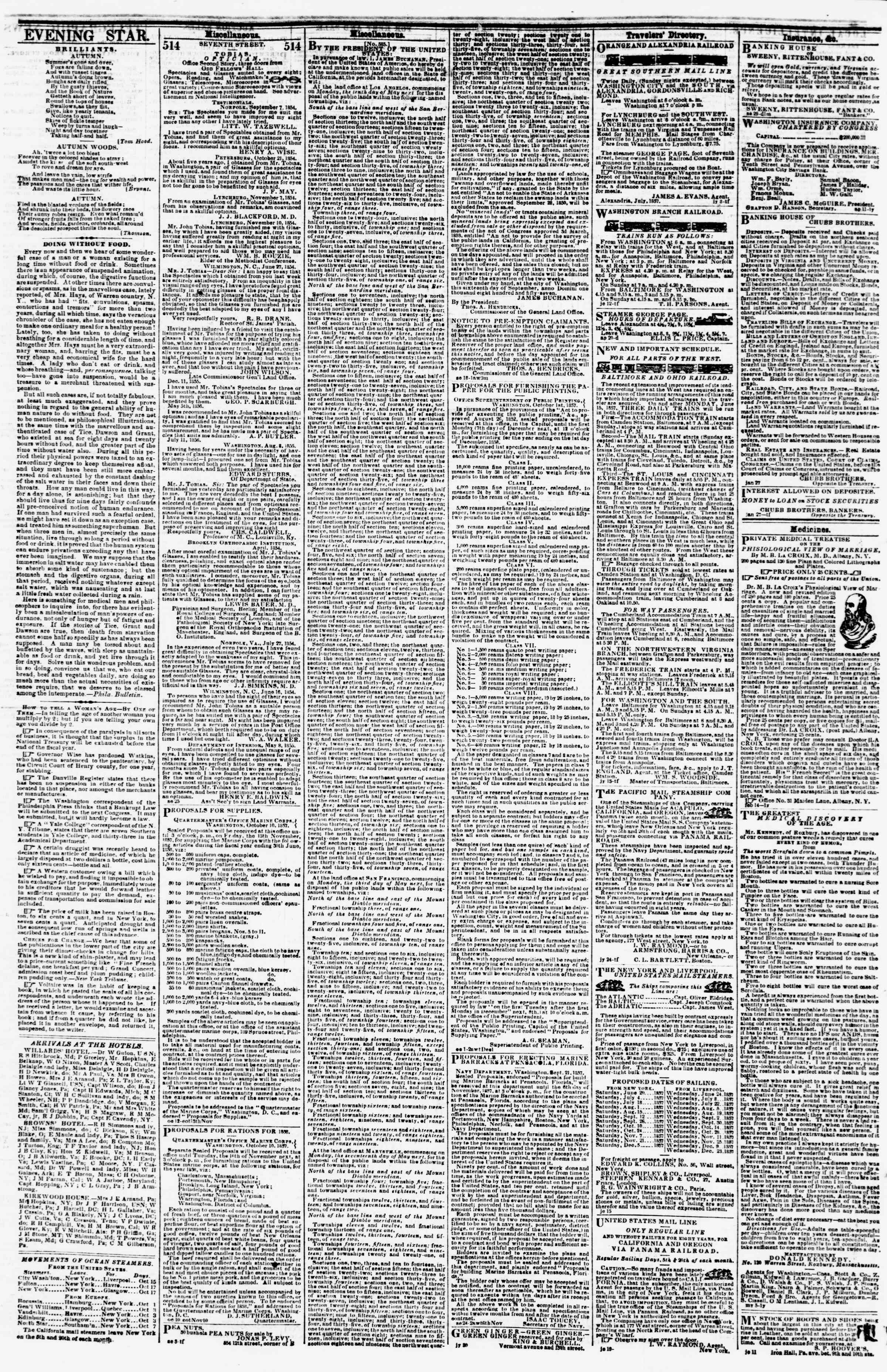 Newspaper of Evening Star dated October 19, 1857 Page 4