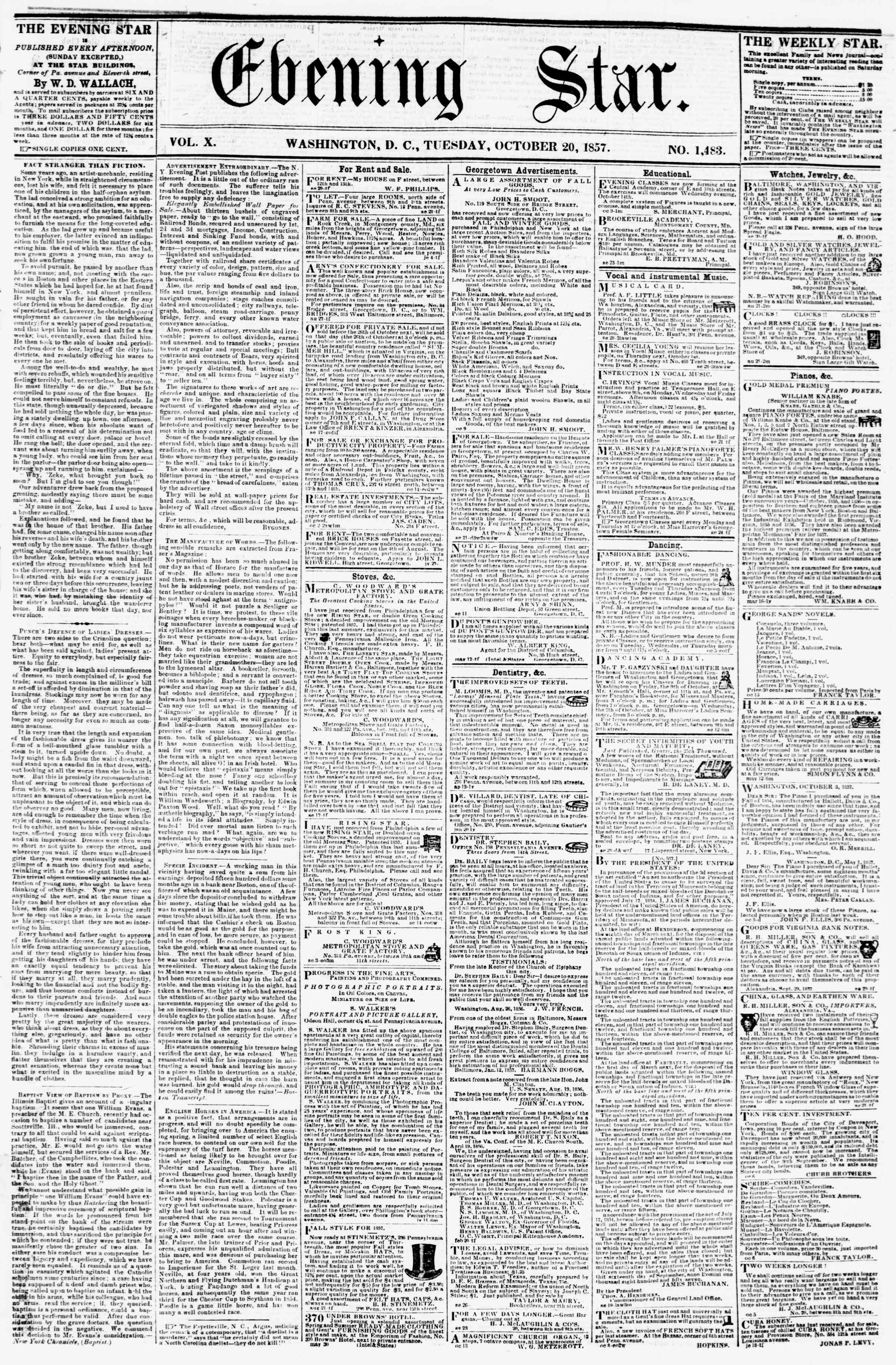 Newspaper of Evening Star dated October 20, 1857 Page 1