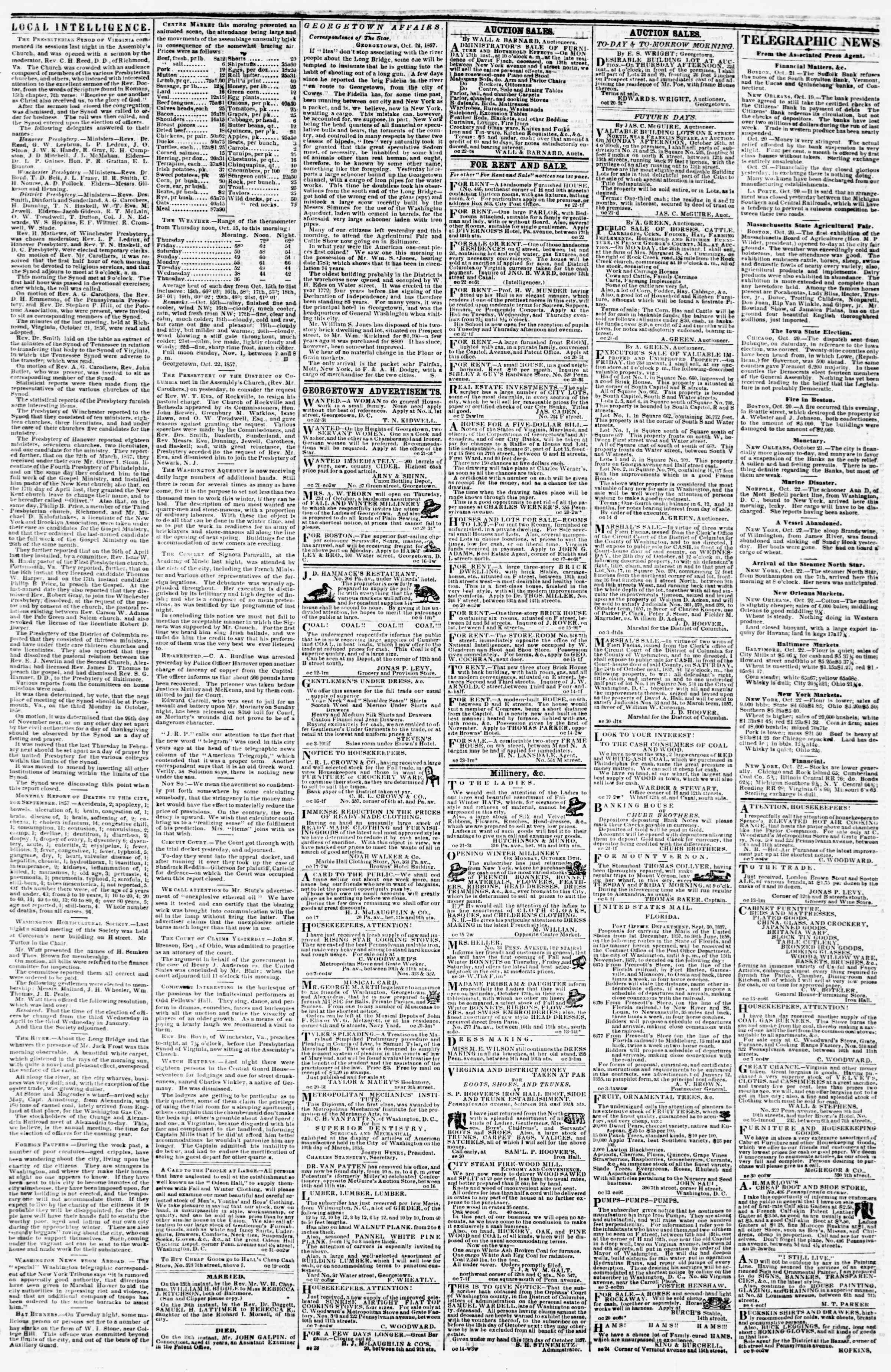 Newspaper of Evening Star dated October 22, 1857 Page 3