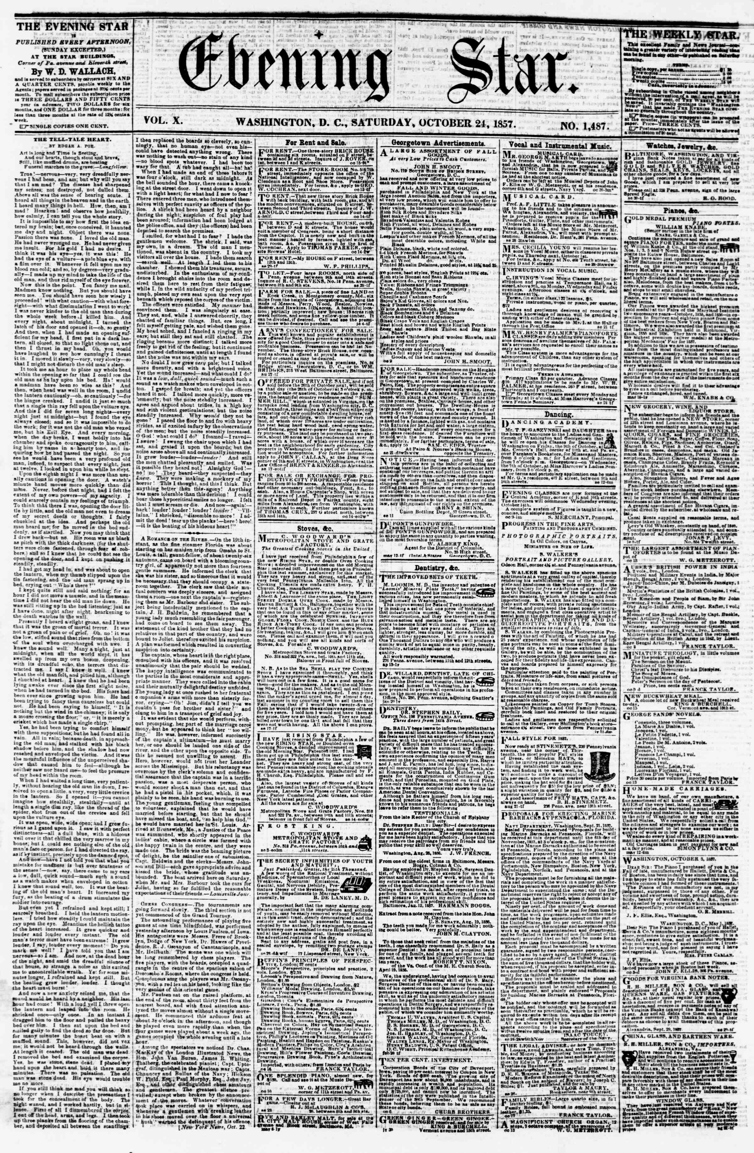 Newspaper of Evening Star dated October 24, 1857 Page 1