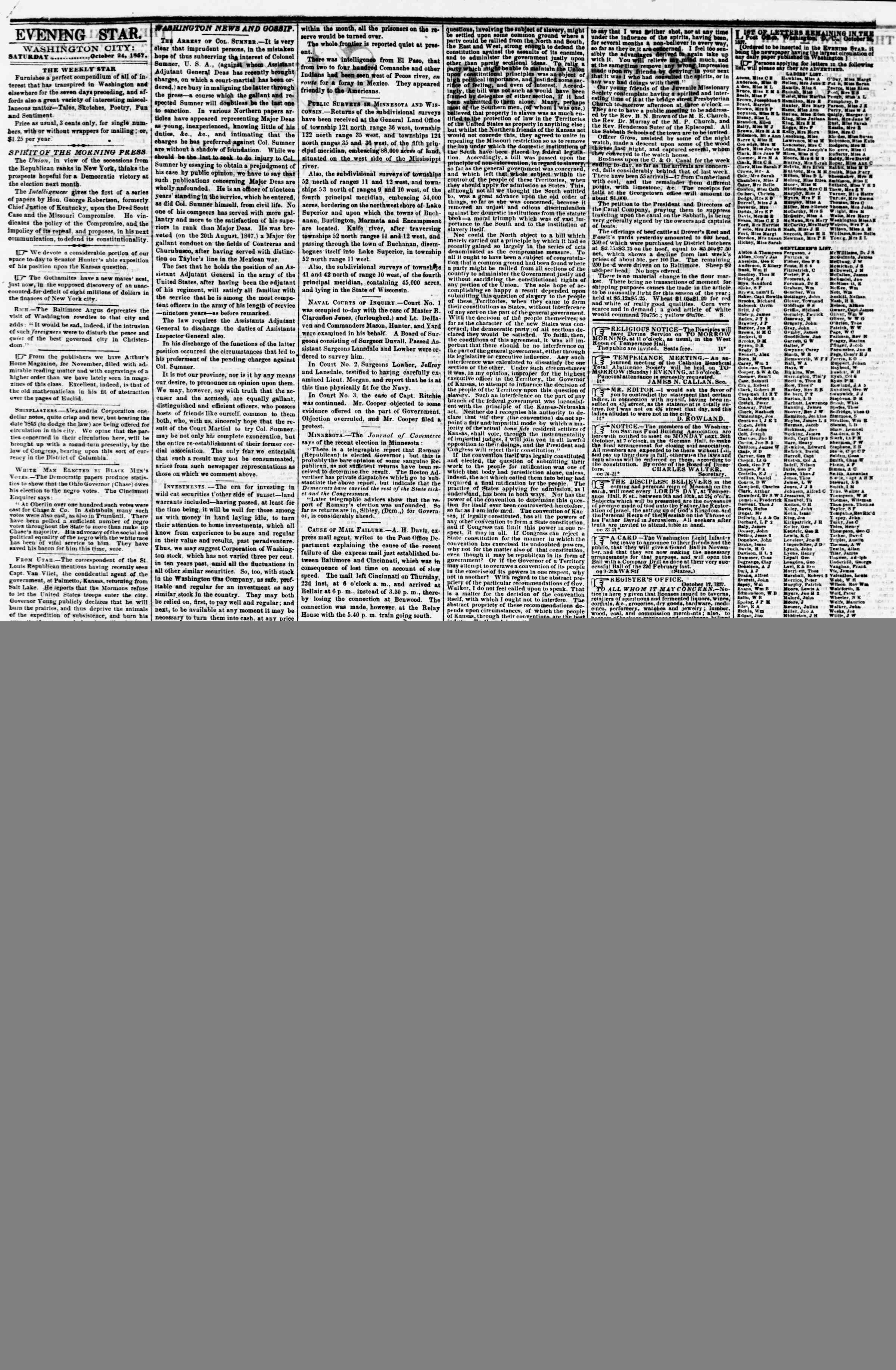 Newspaper of Evening Star dated October 24, 1857 Page 2