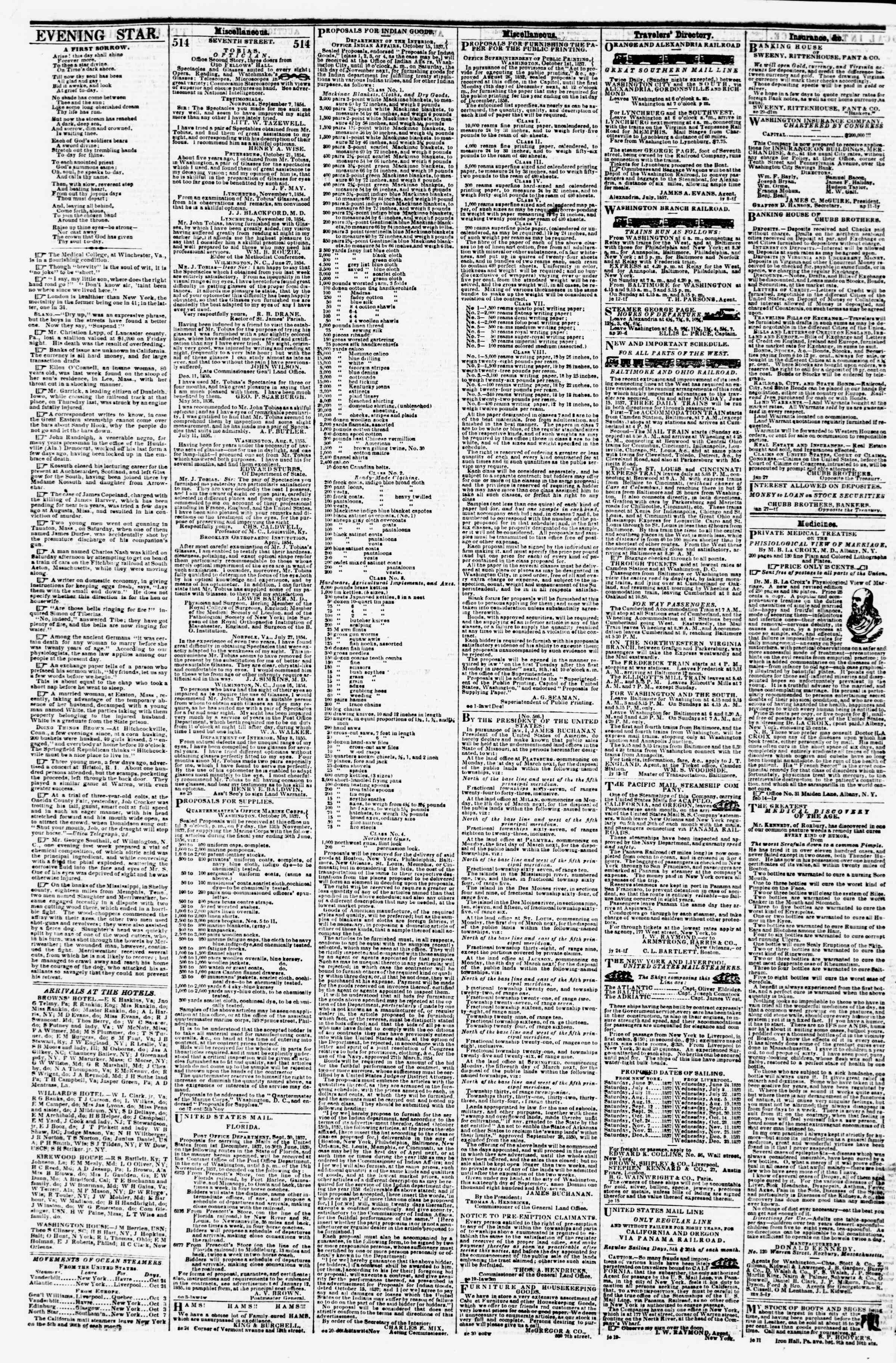 Newspaper of Evening Star dated October 24, 1857 Page 4
