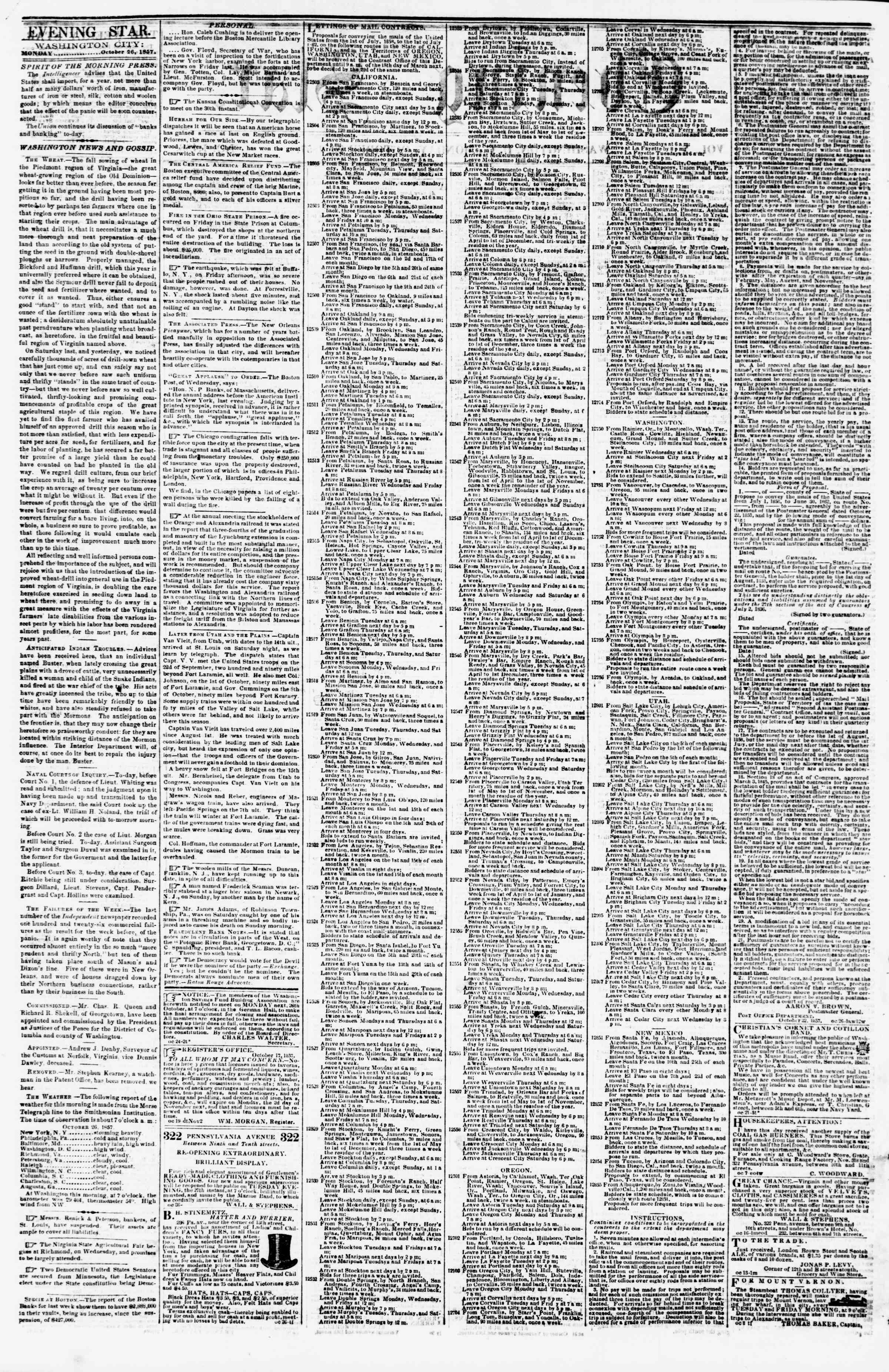 Newspaper of Evening Star dated October 26, 1857 Page 2
