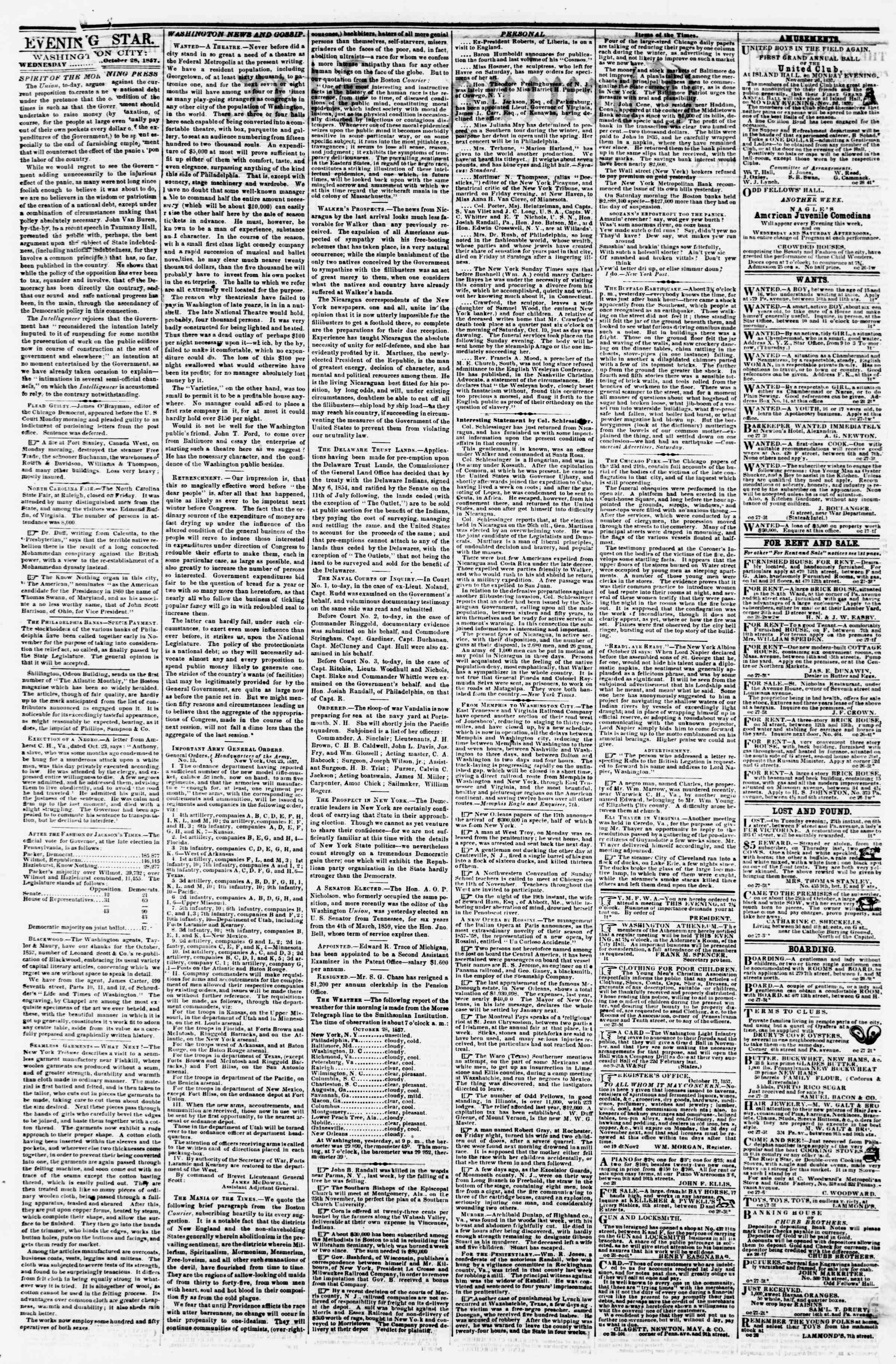28 Ekim 1857 tarihli Evening Star Gazetesi Sayfa 2