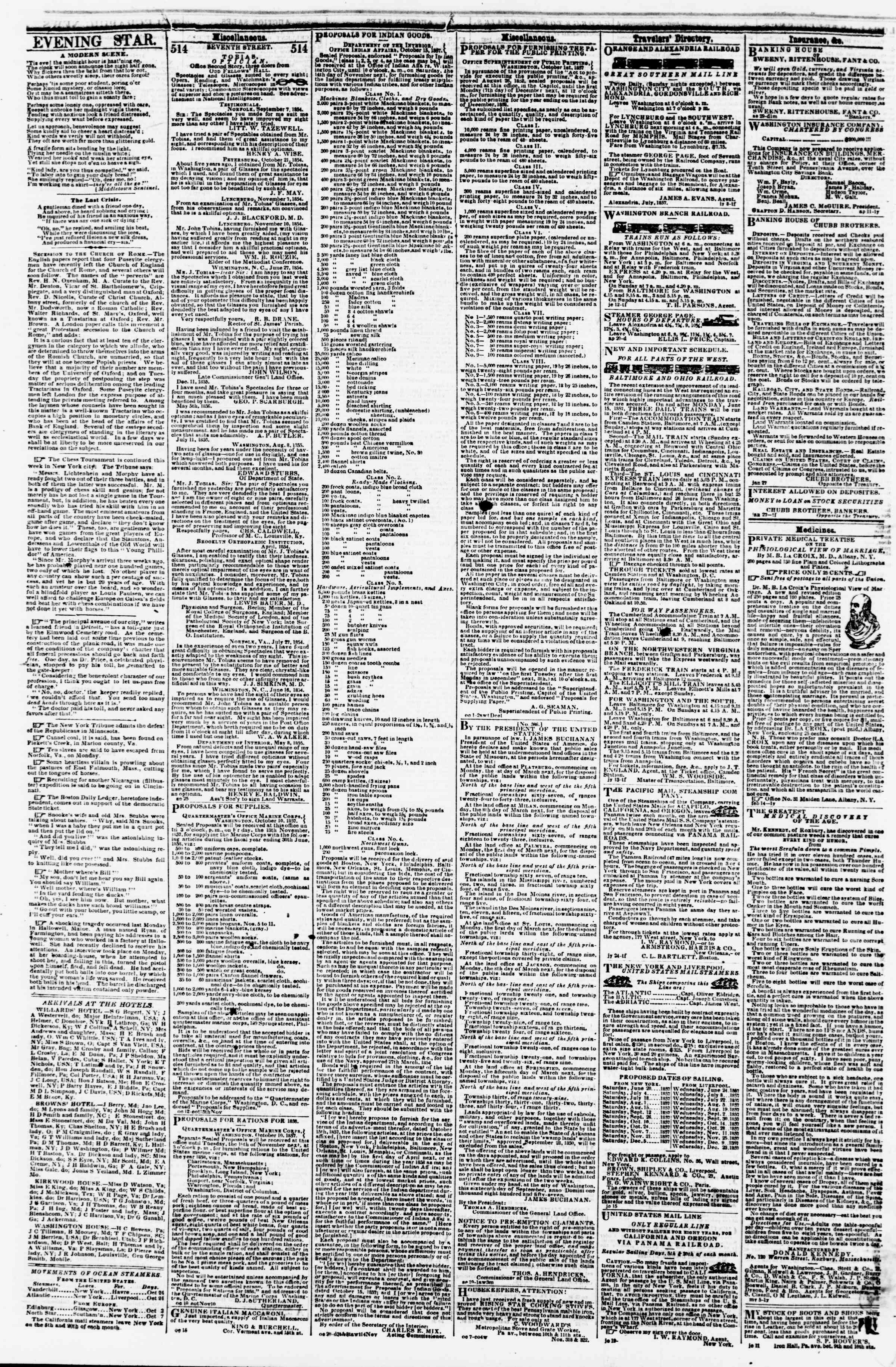 Newspaper of Evening Star dated October 28, 1857 Page 4