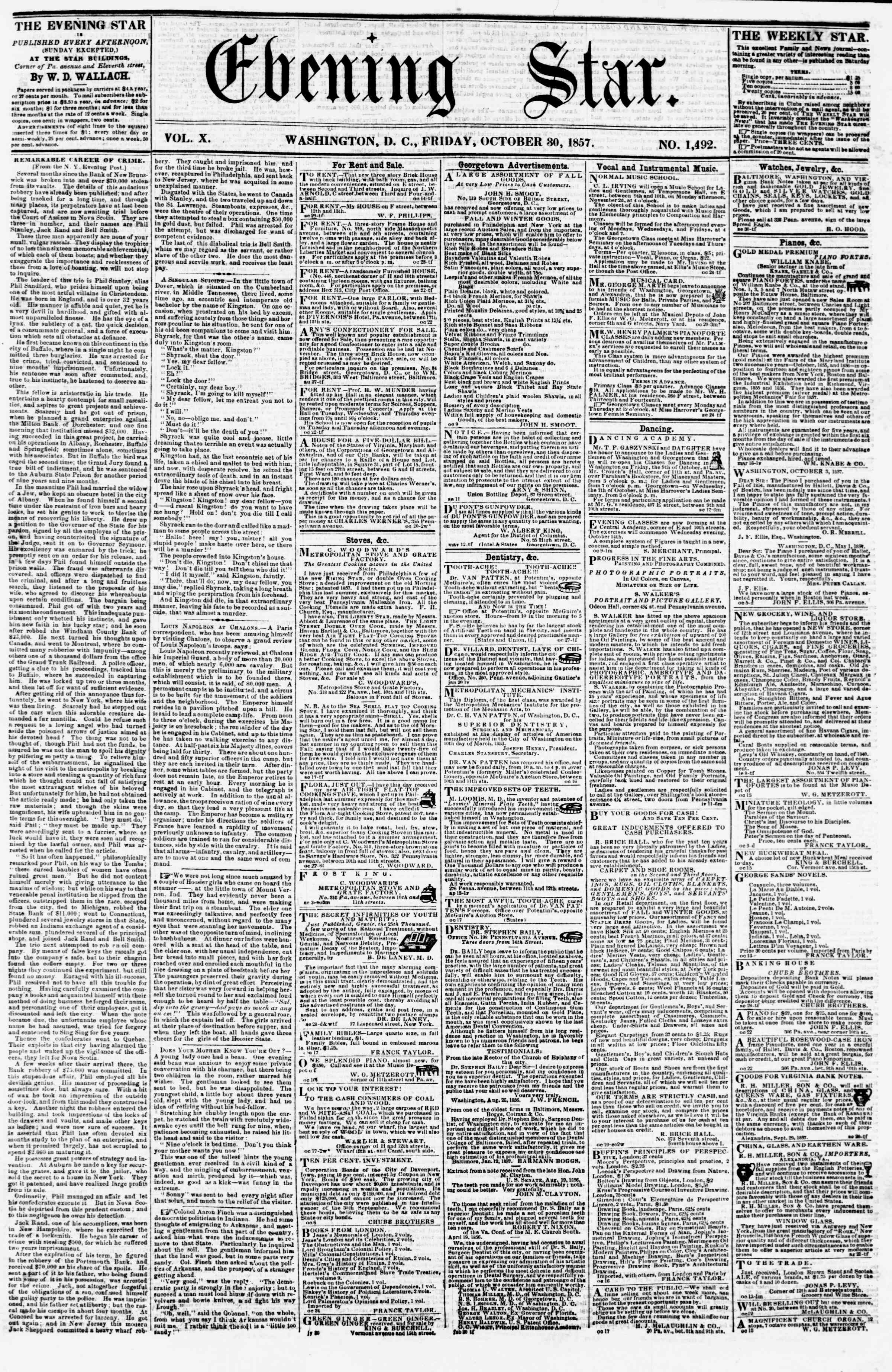 Newspaper of Evening Star dated October 30, 1857 Page 1