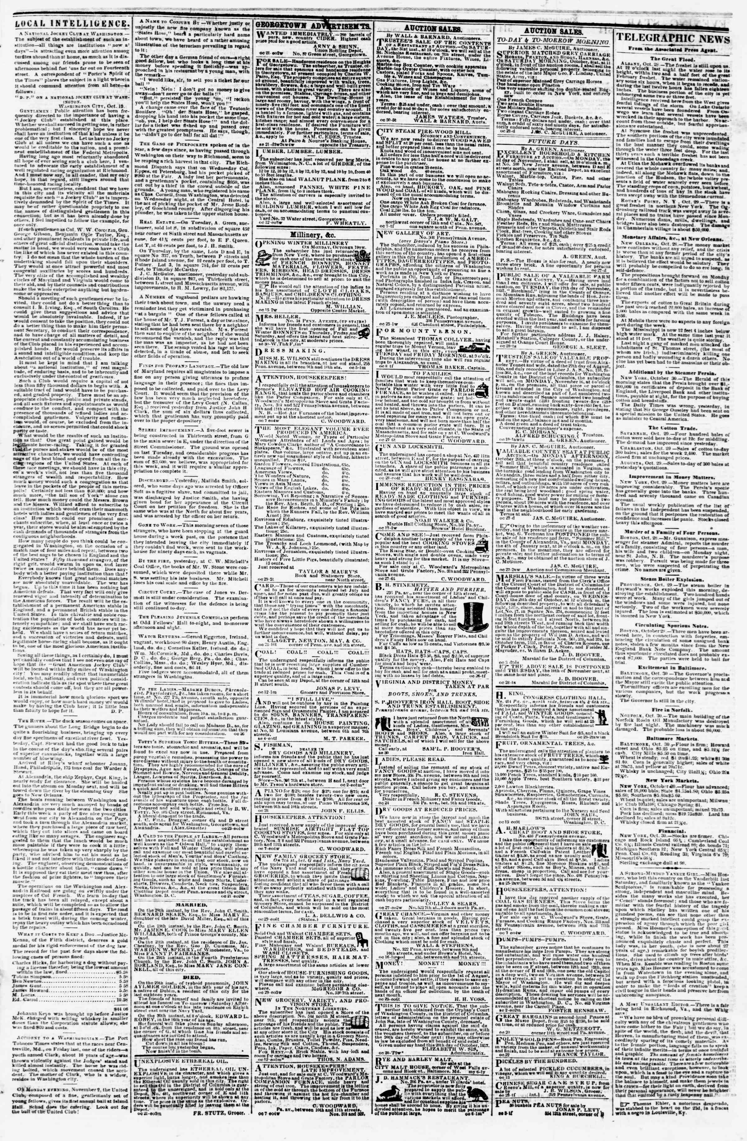Newspaper of Evening Star dated October 30, 1857 Page 3