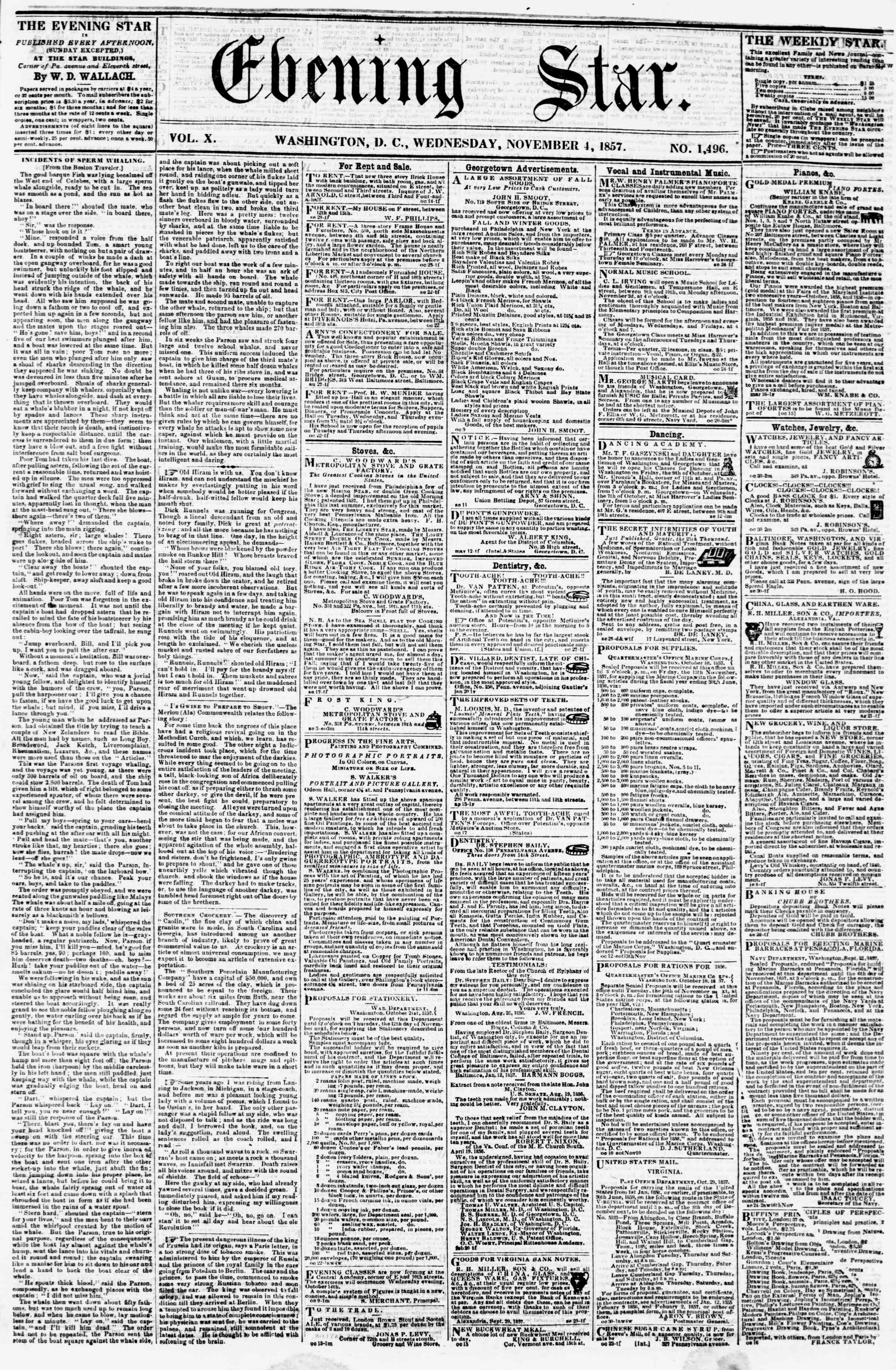 Newspaper of Evening Star dated November 4, 1857 Page 1