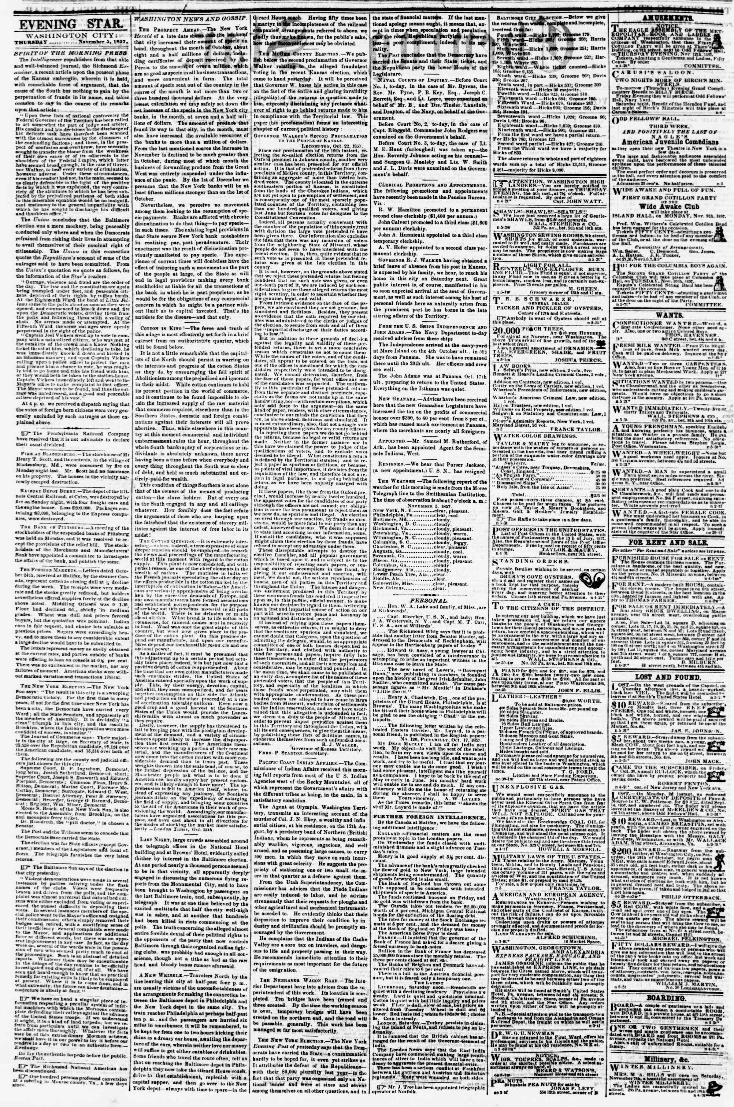 Newspaper of Evening Star dated November 5, 1857 Page 2