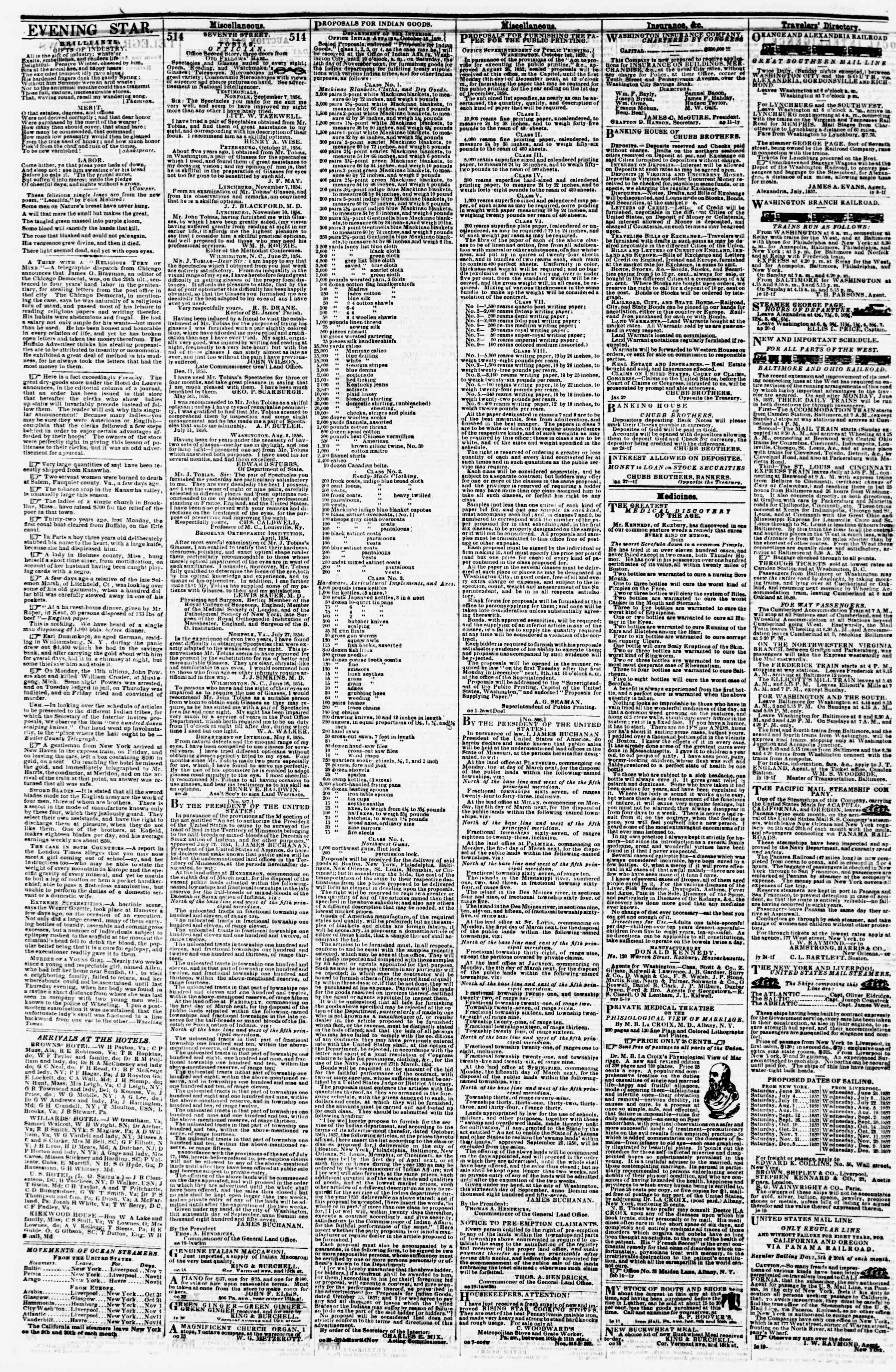 Newspaper of Evening Star dated November 5, 1857 Page 4