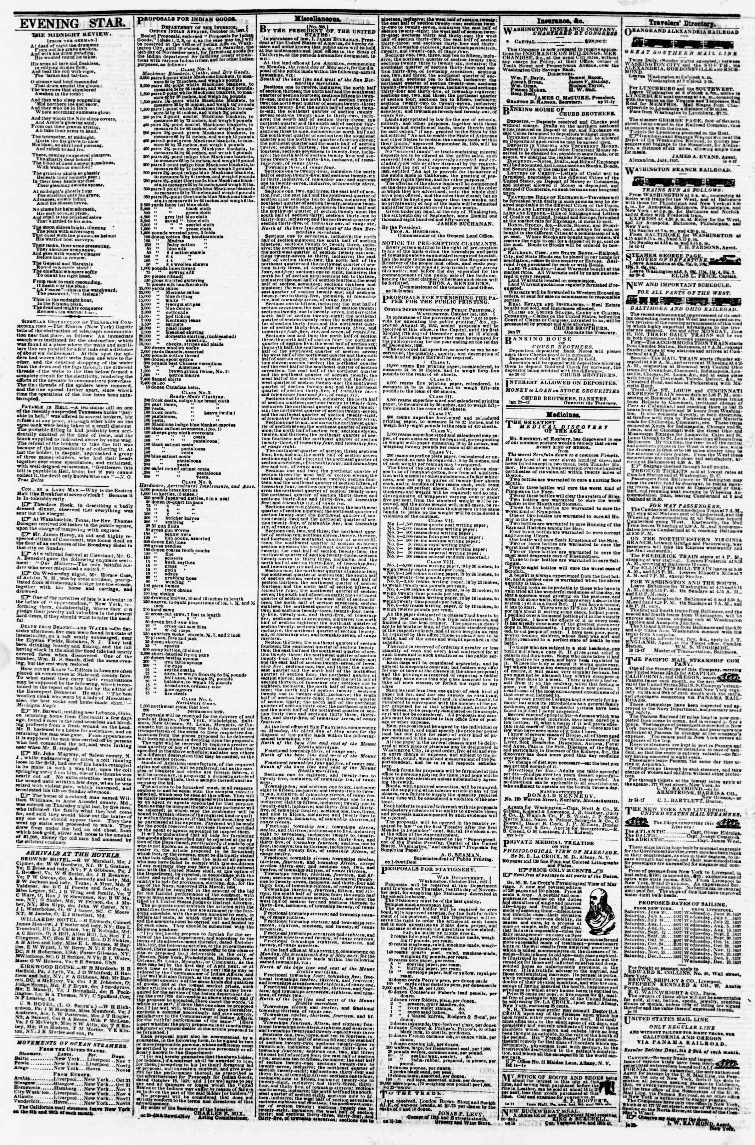 Newspaper of Evening Star dated November 7, 1857 Page 4