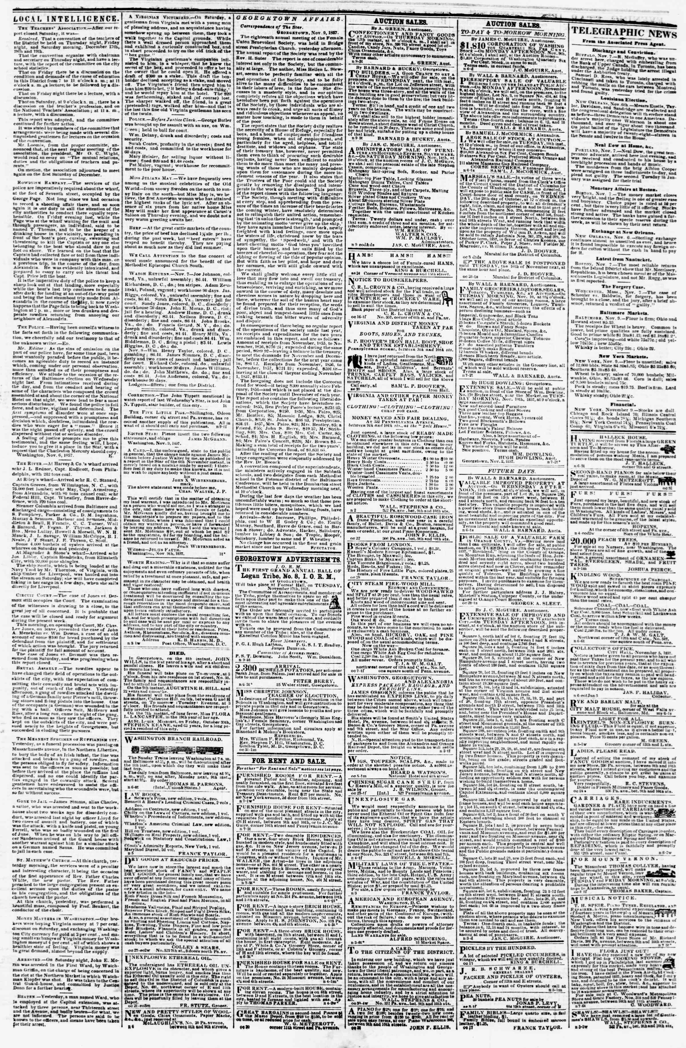 Newspaper of Evening Star dated November 9, 1857 Page 3