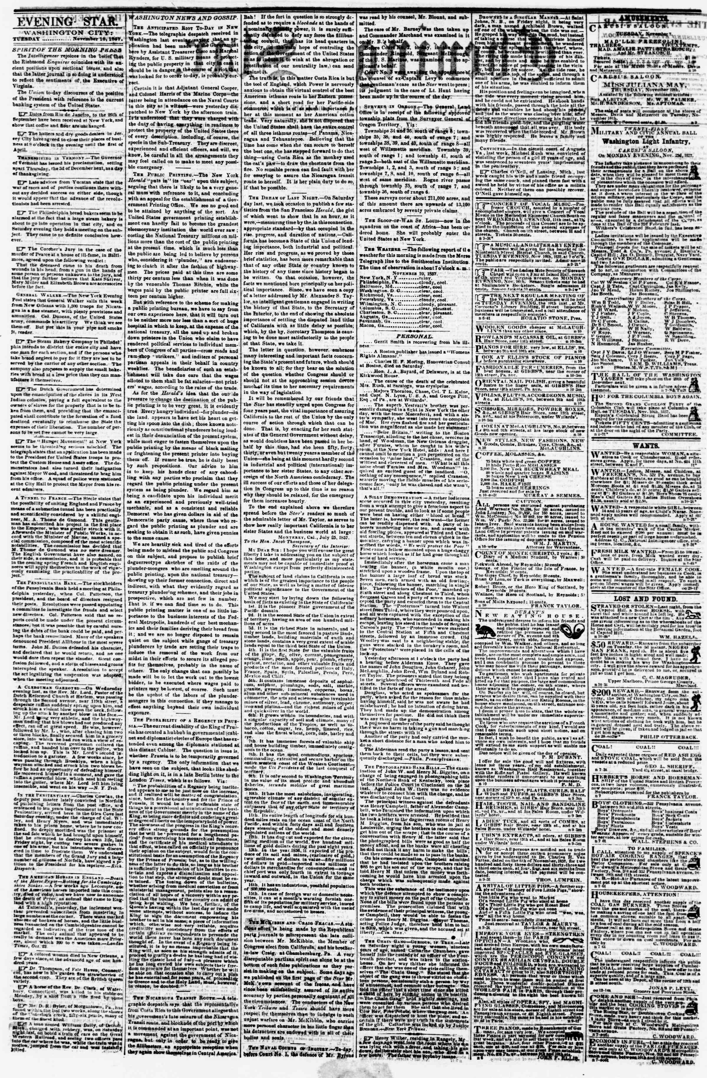 Newspaper of Evening Star dated November 10, 1857 Page 2