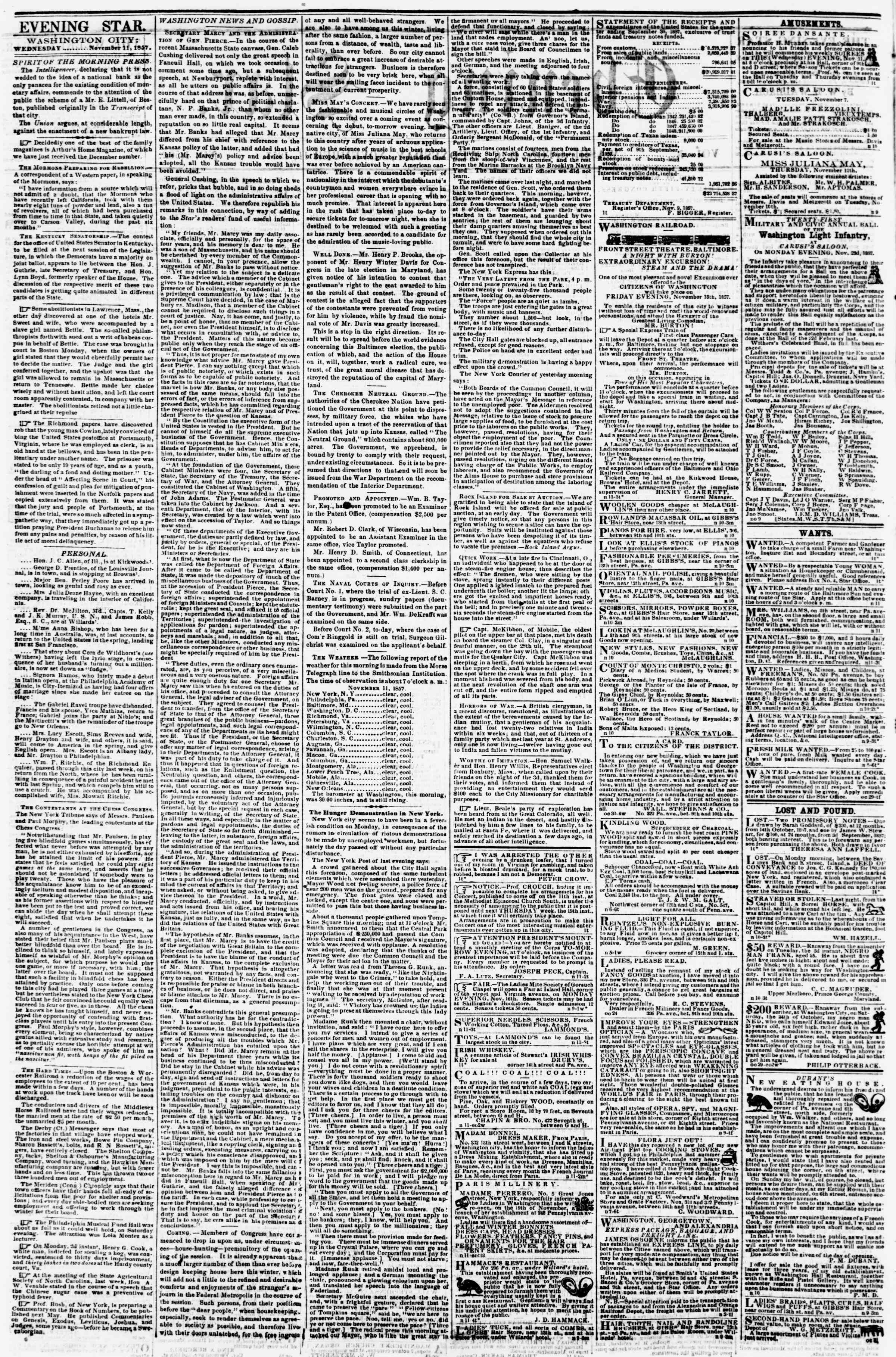Newspaper of Evening Star dated November 11, 1857 Page 2