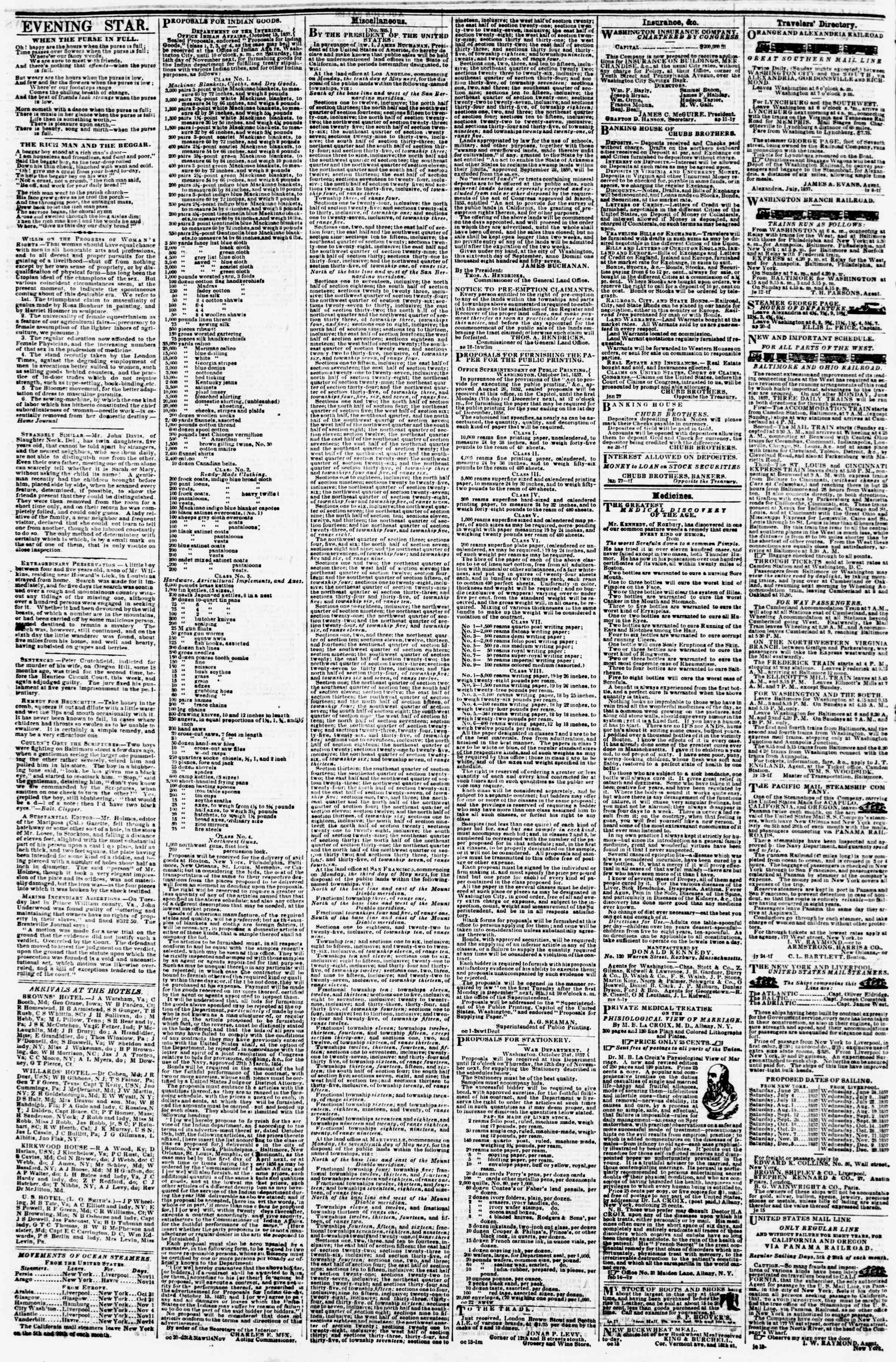Newspaper of Evening Star dated November 11, 1857 Page 4