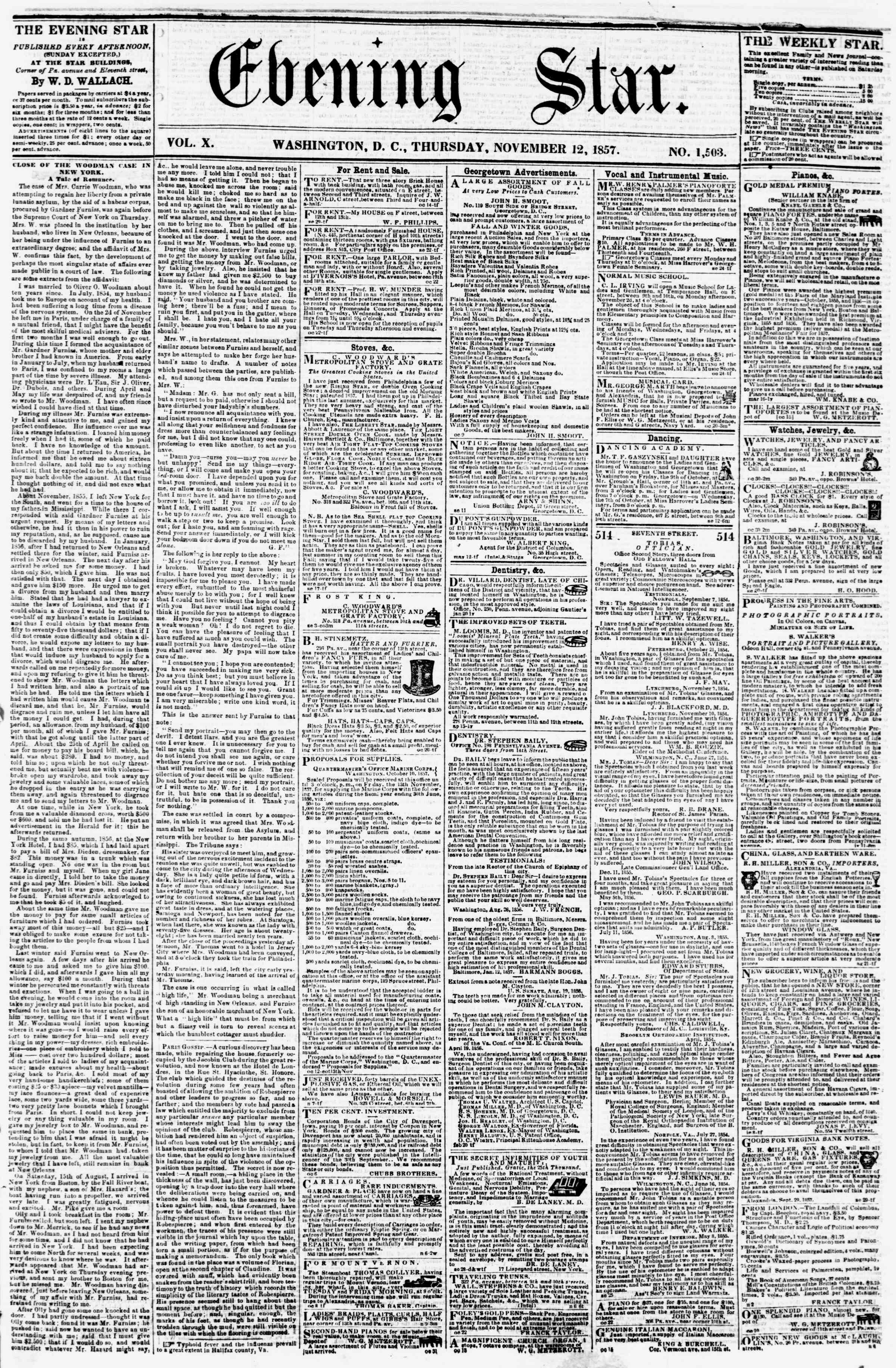 Newspaper of Evening Star dated November 12, 1857 Page 1