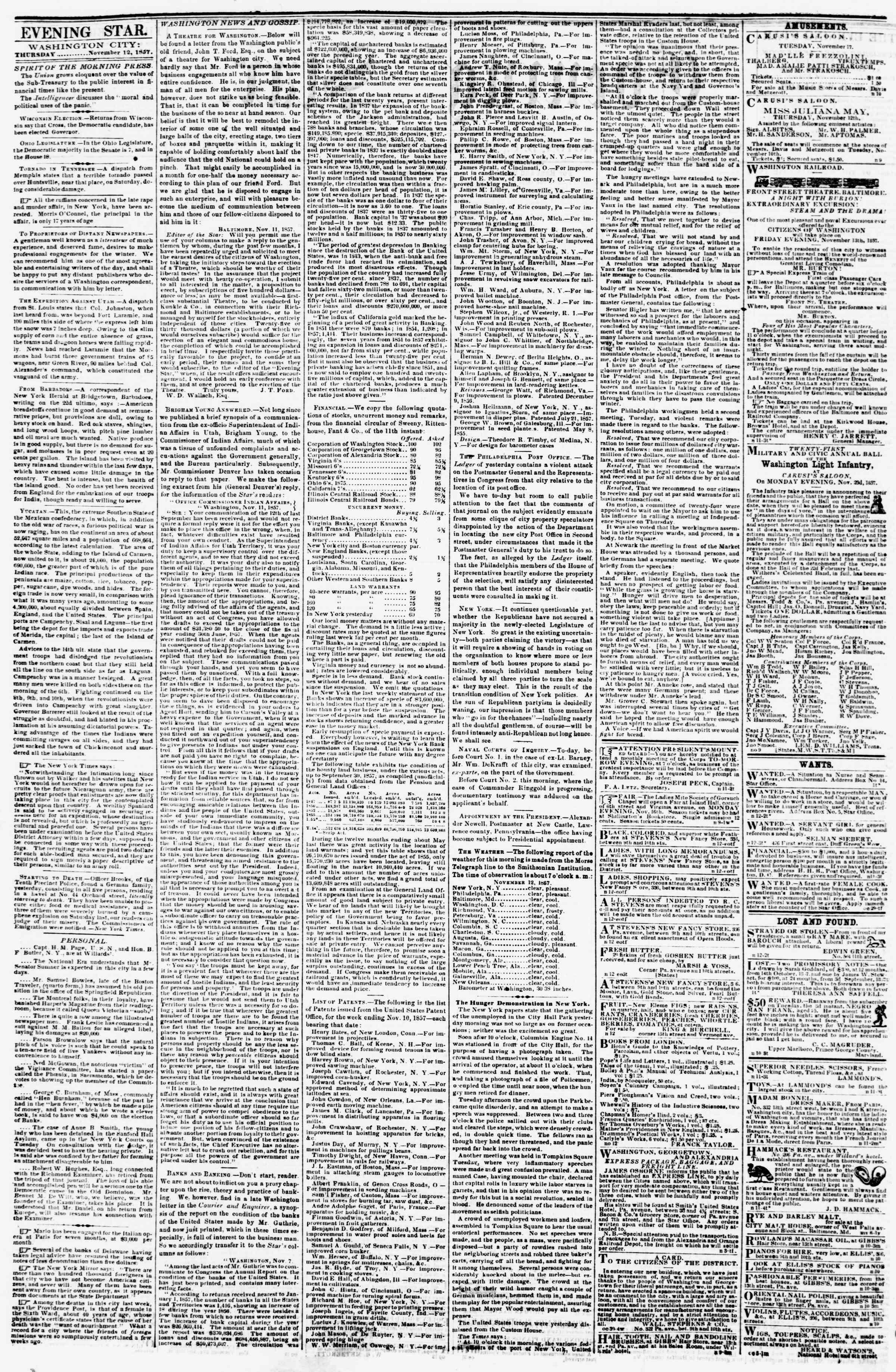 Newspaper of Evening Star dated 12 Kasım 1857 Page 2