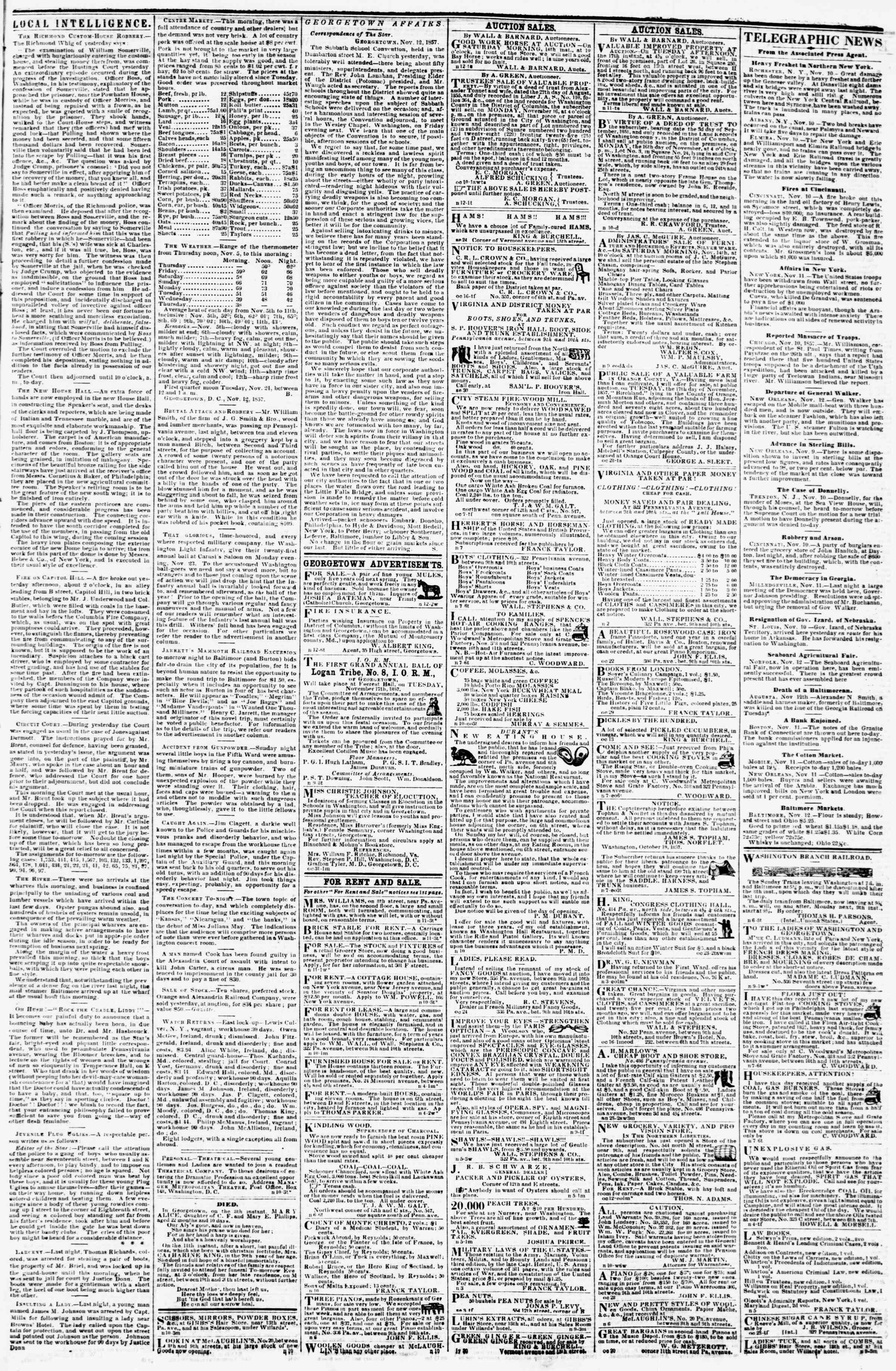 Newspaper of Evening Star dated November 12, 1857 Page 3