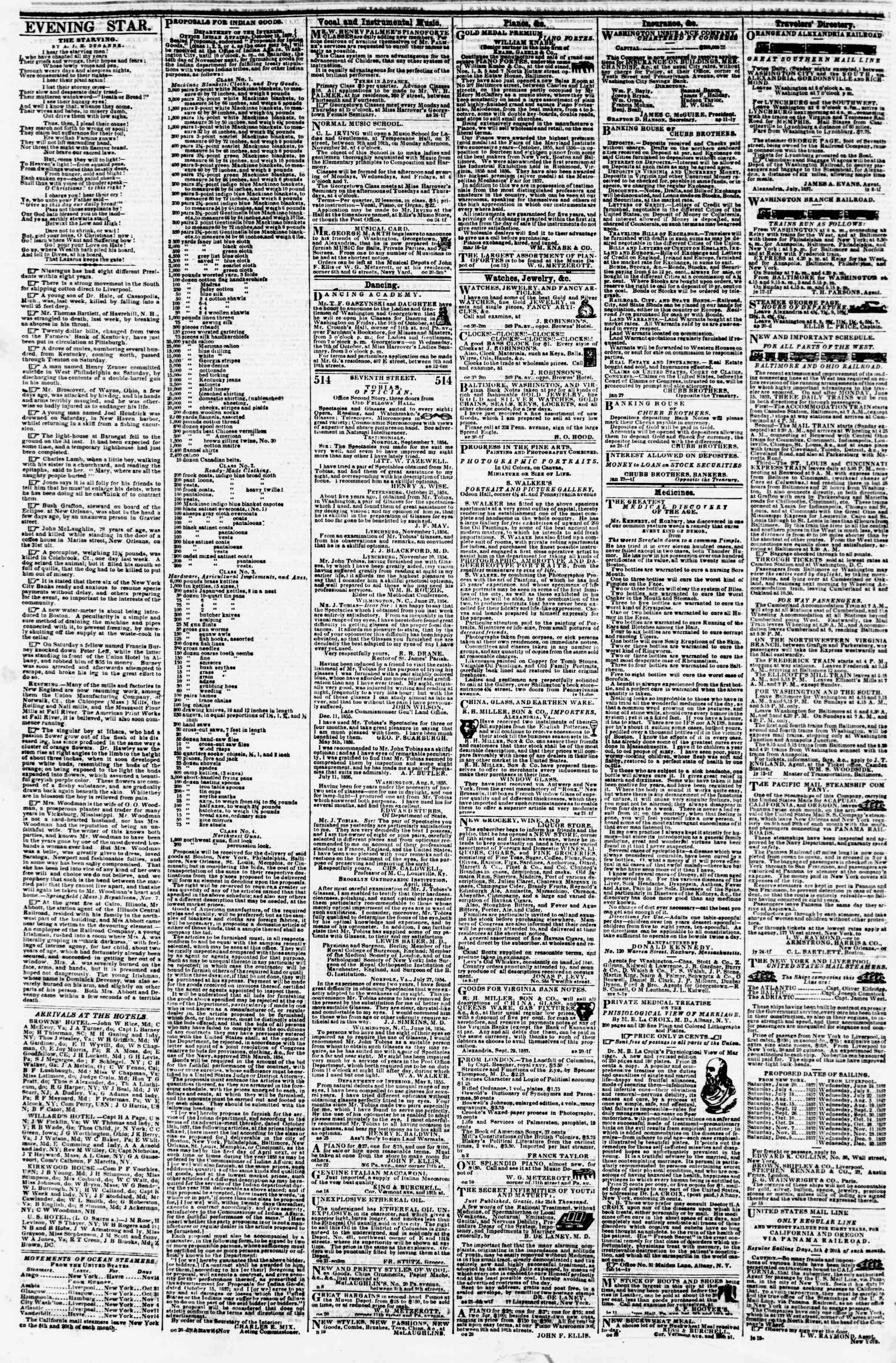 Newspaper of Evening Star dated November 13, 1857 Page 4