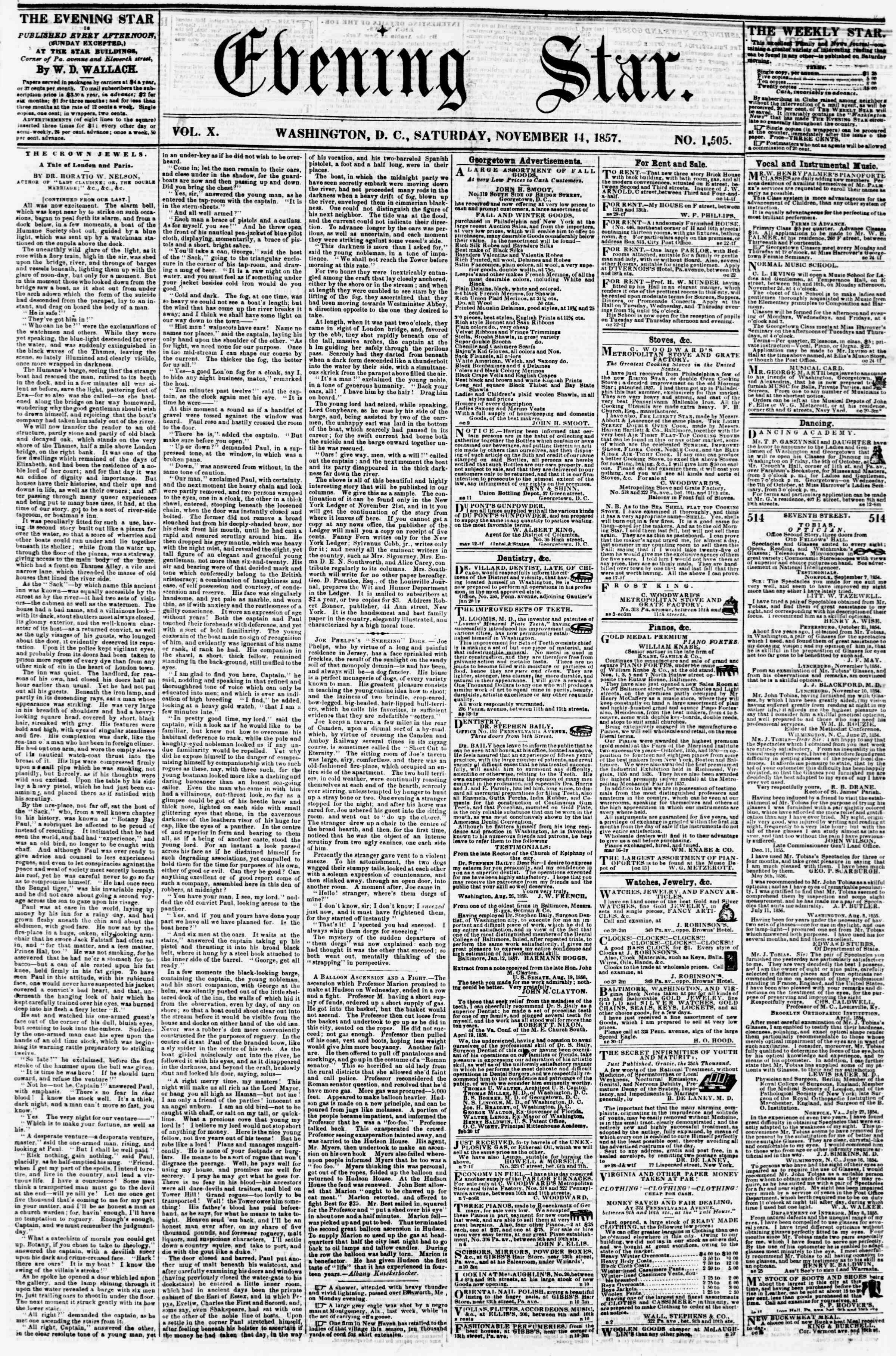 Newspaper of Evening Star dated November 14, 1857 Page 1