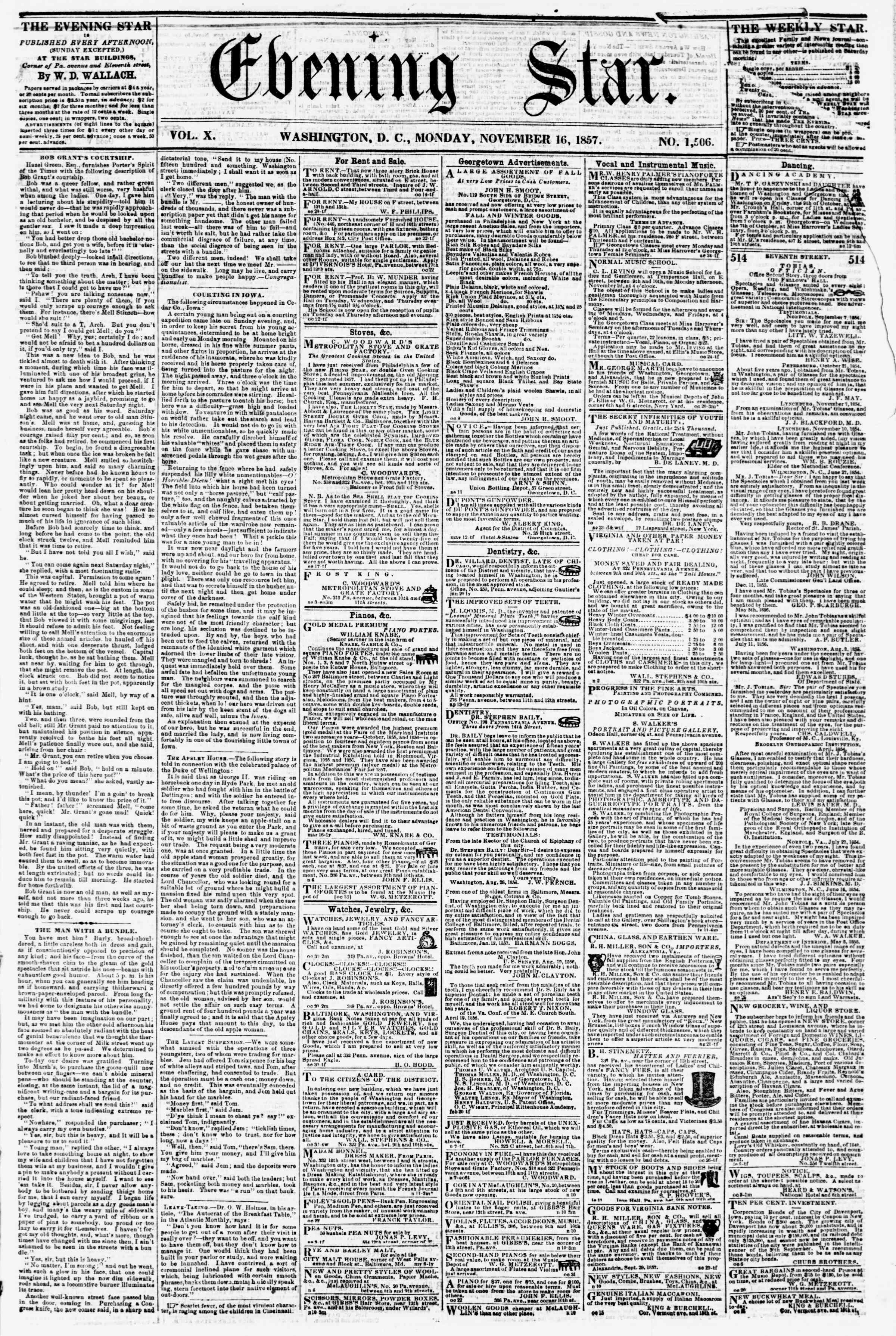 16 Kasım 1857 tarihli Evening Star Gazetesi Sayfa 1
