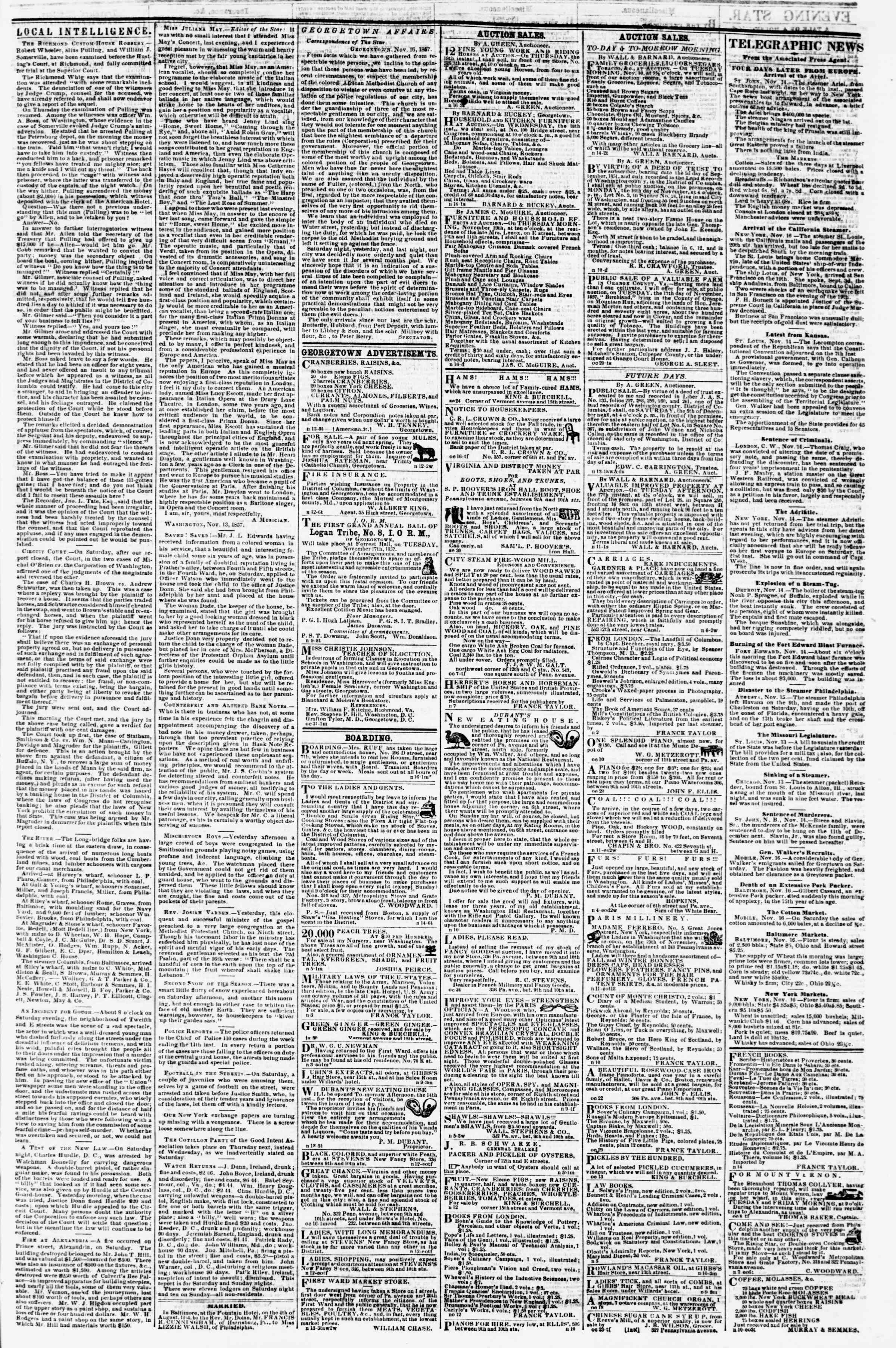 Newspaper of Evening Star dated November 16, 1857 Page 3
