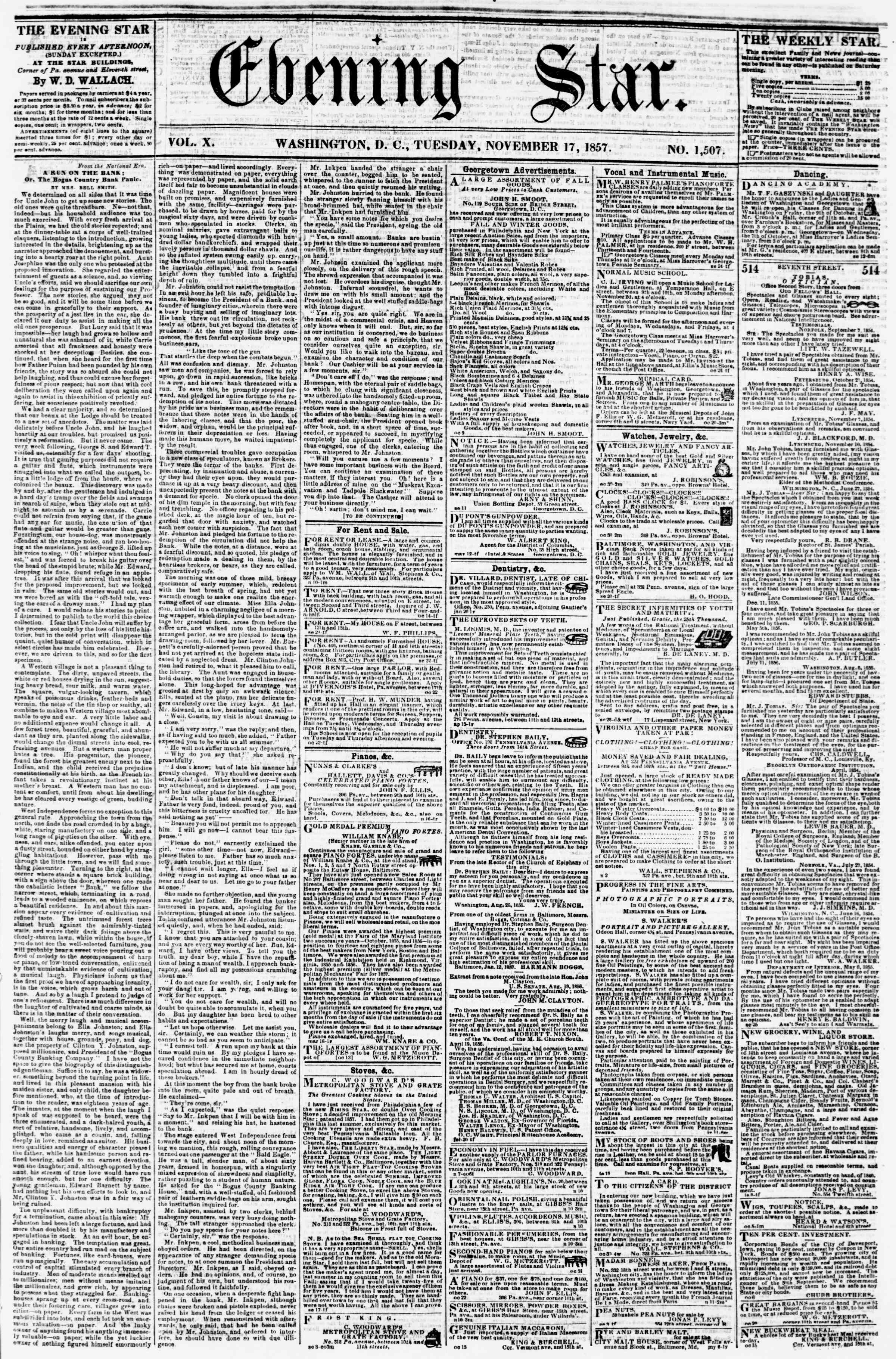 Newspaper of Evening Star dated November 17, 1857 Page 1