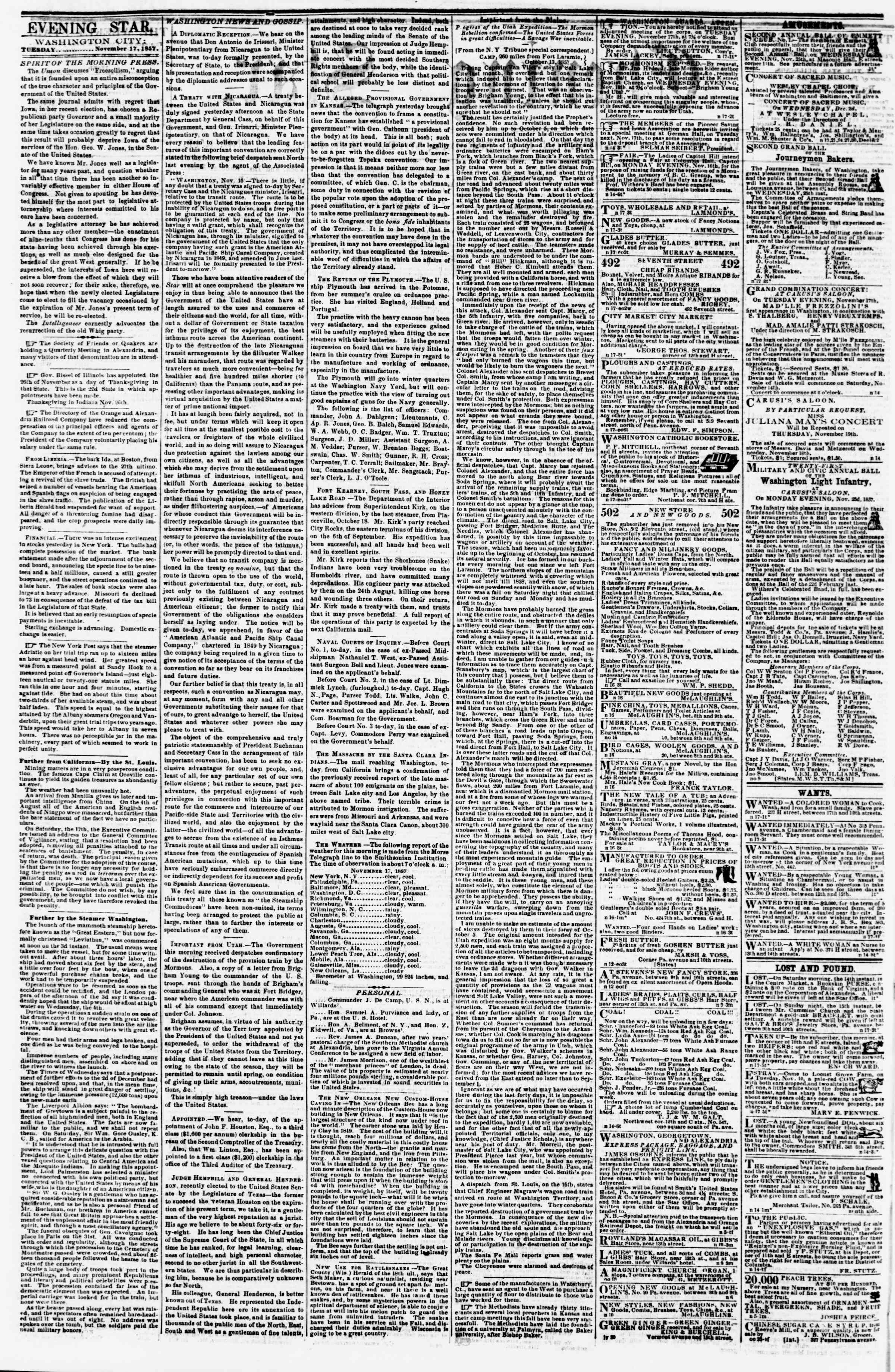 Newspaper of Evening Star dated November 17, 1857 Page 2