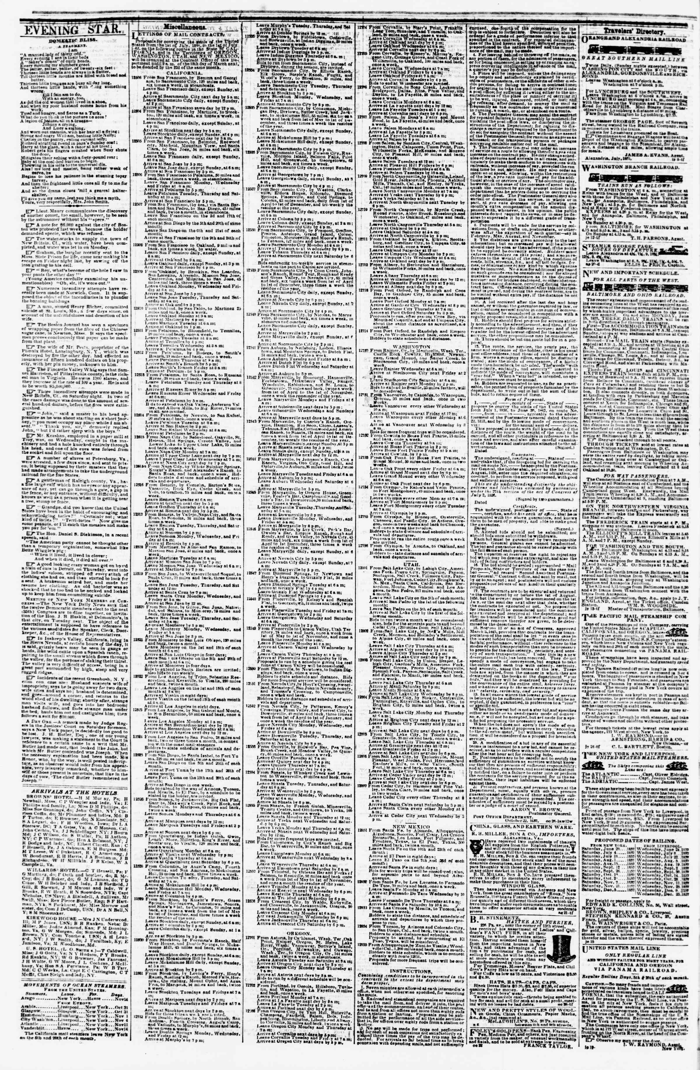 Newspaper of Evening Star dated November 17, 1857 Page 4