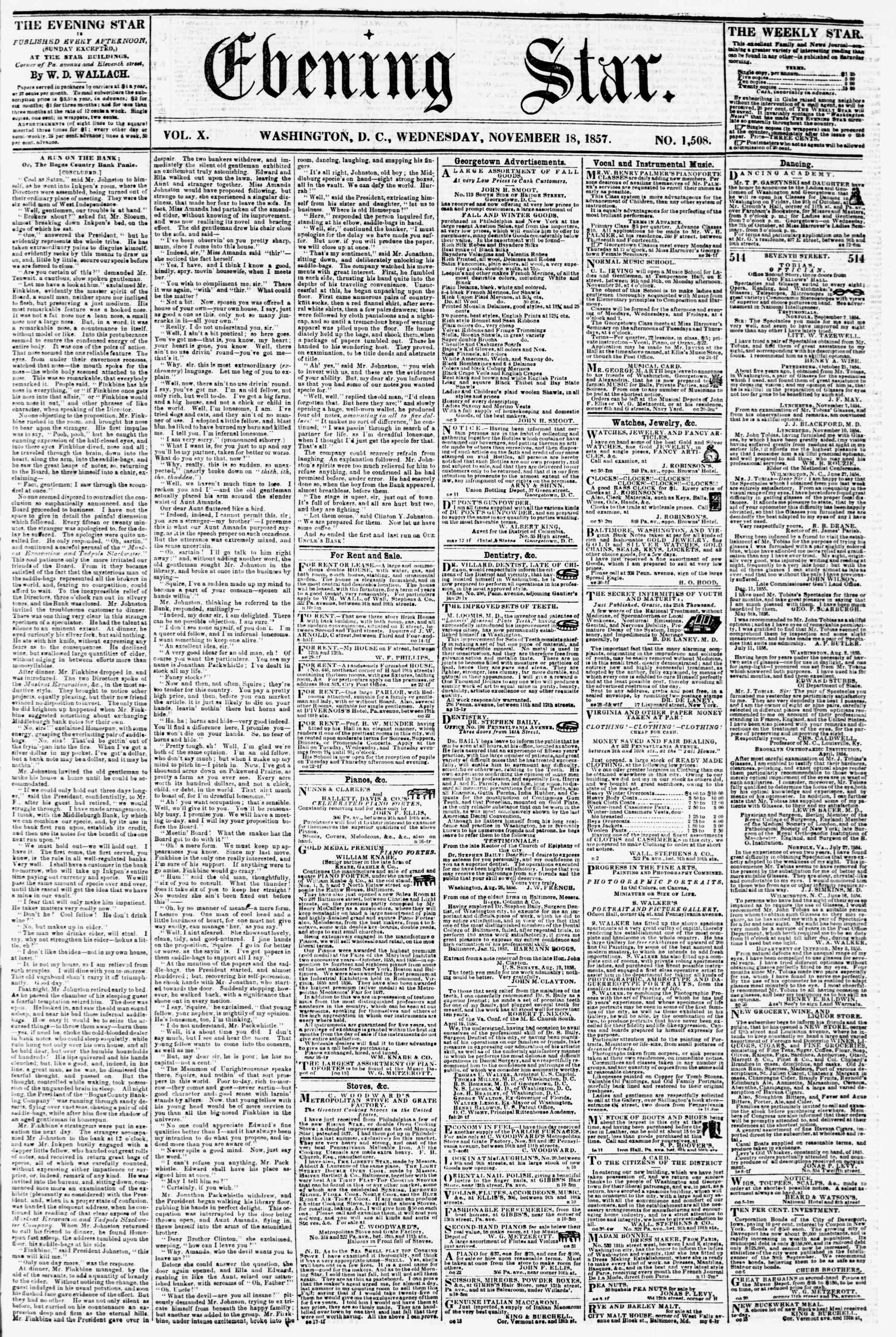 18 Kasım 1857 tarihli Evening Star Gazetesi Sayfa 1