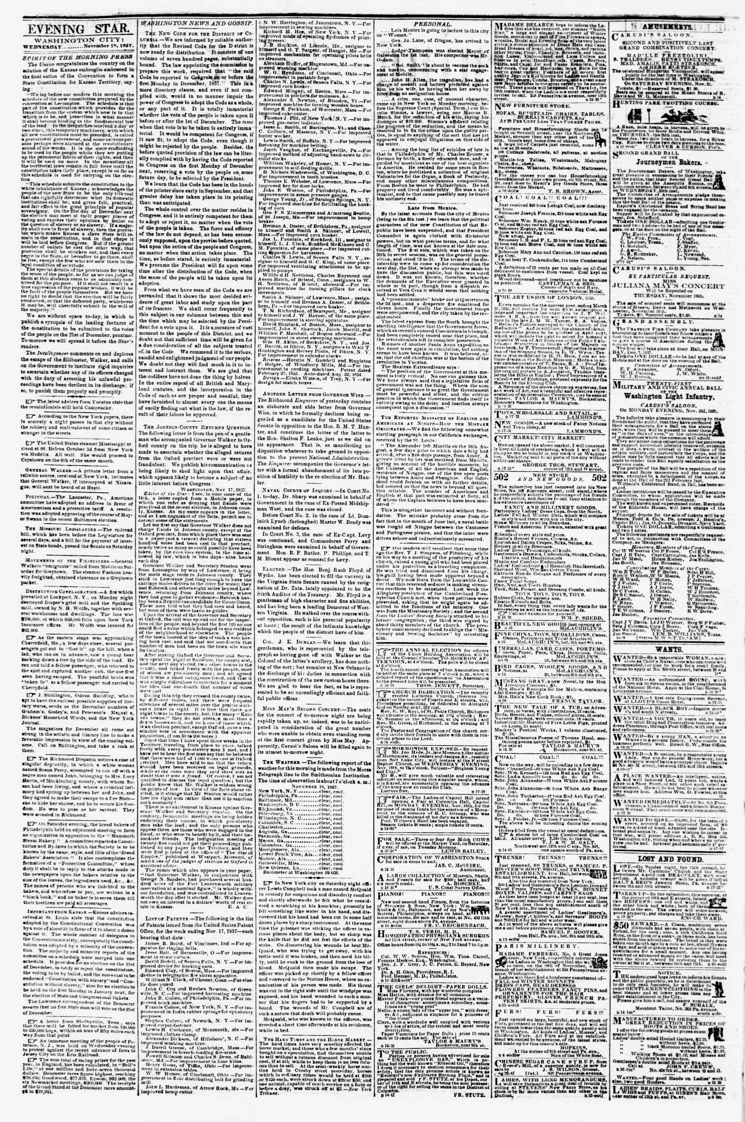 Newspaper of Evening Star dated November 18, 1857 Page 2