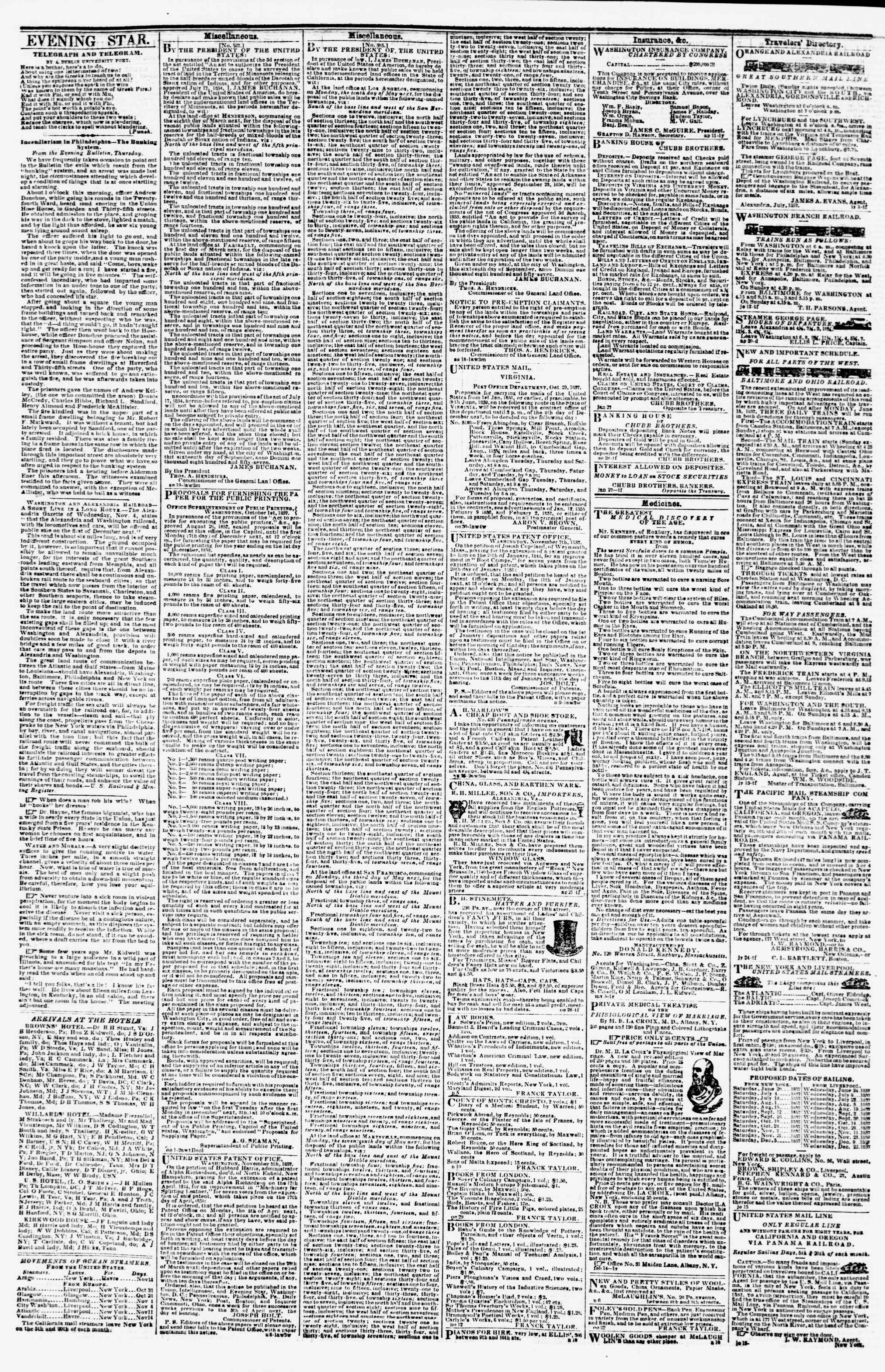 Newspaper of Evening Star dated November 18, 1857 Page 4