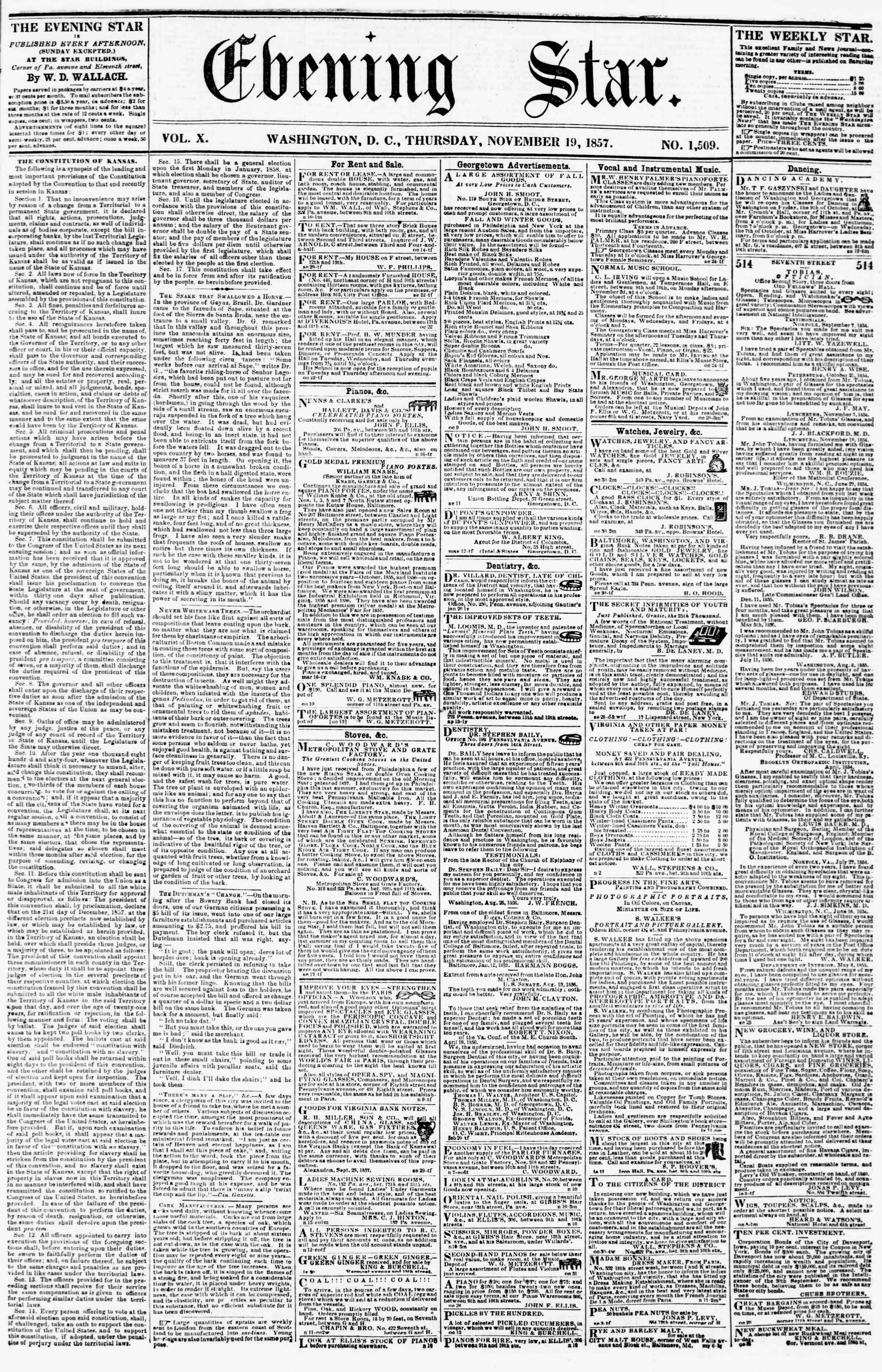 Newspaper of Evening Star dated November 19, 1857 Page 1