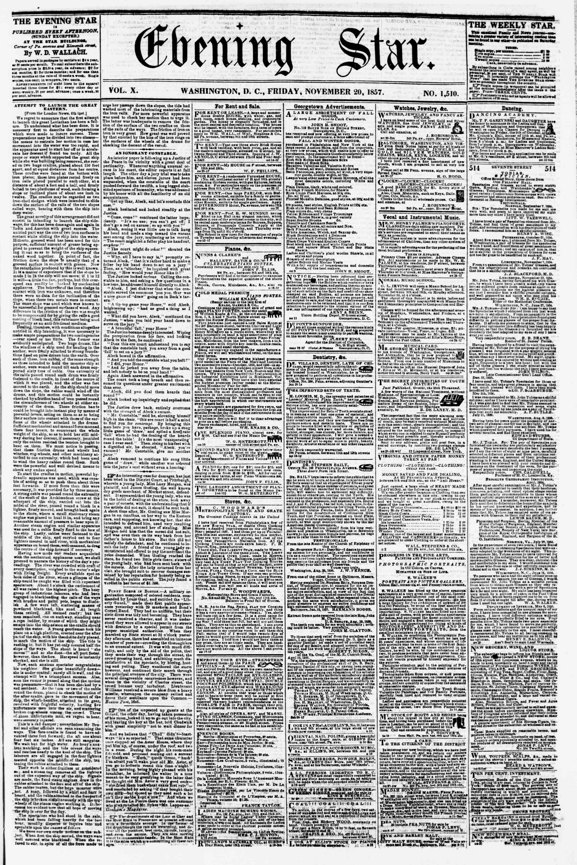 Newspaper of Evening Star dated November 20, 1857 Page 1