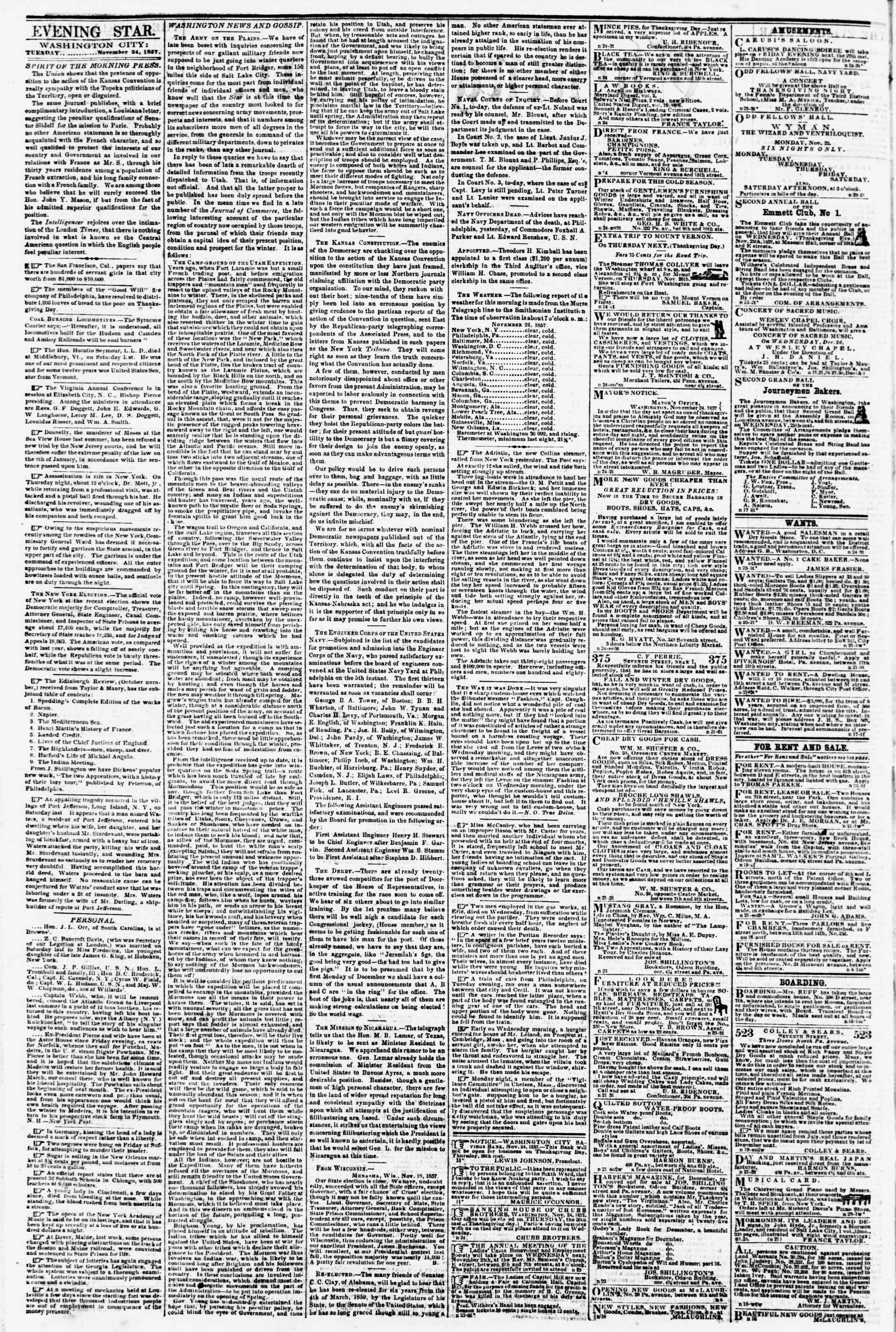 24 Kasım 1857 tarihli Evening Star Gazetesi Sayfa 2