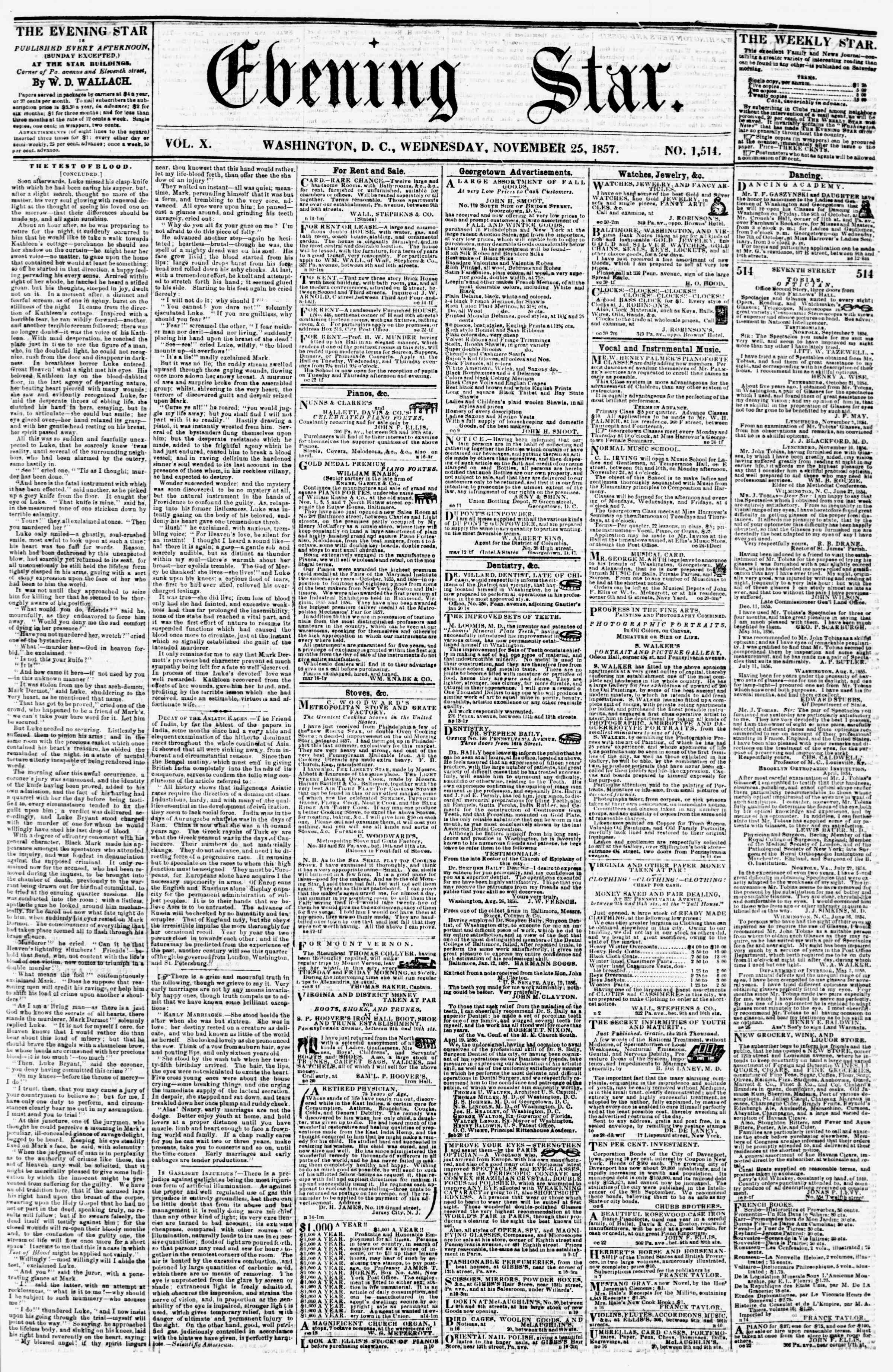 Newspaper of Evening Star dated November 25, 1857 Page 1