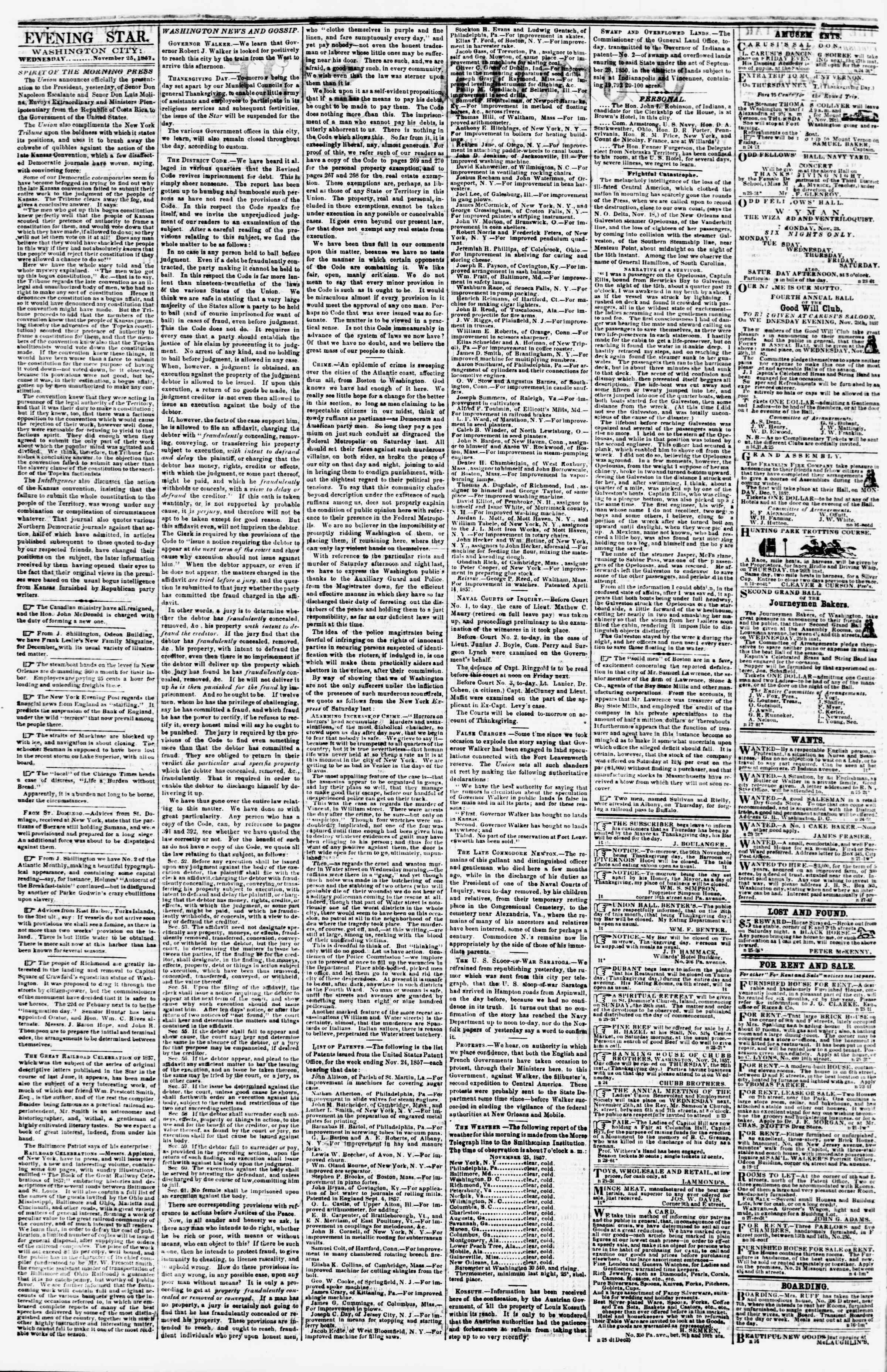 Newspaper of Evening Star dated November 25, 1857 Page 2