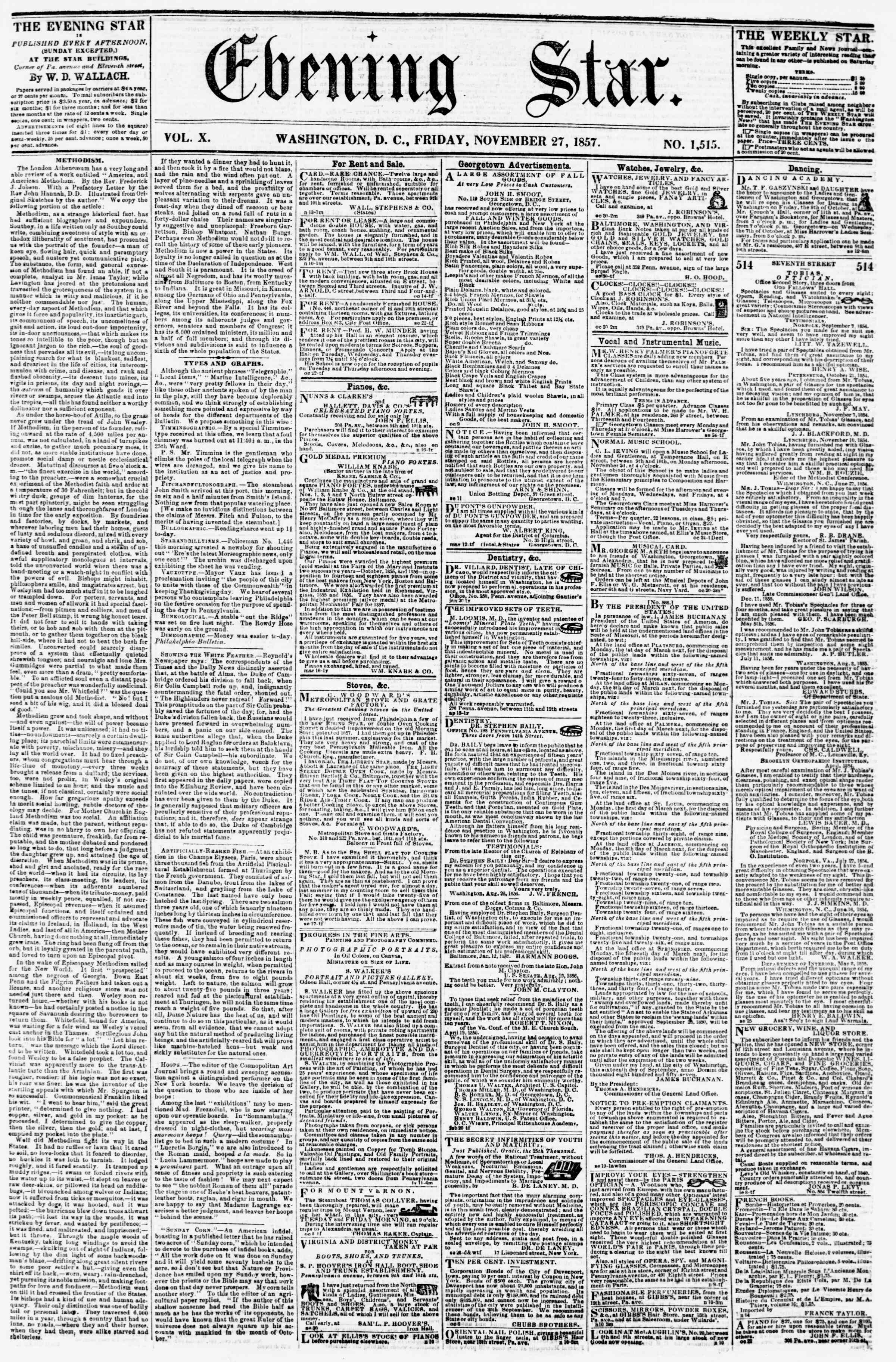 Newspaper of Evening Star dated November 27, 1857 Page 1