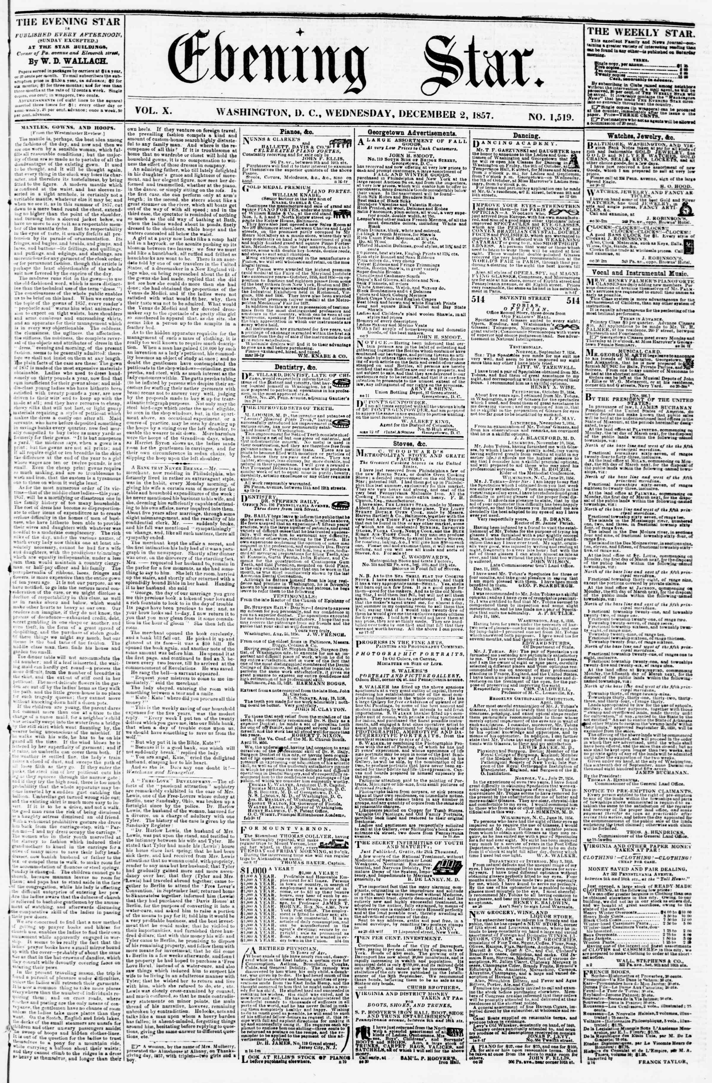 Newspaper of Evening Star dated December 2, 1857 Page 1