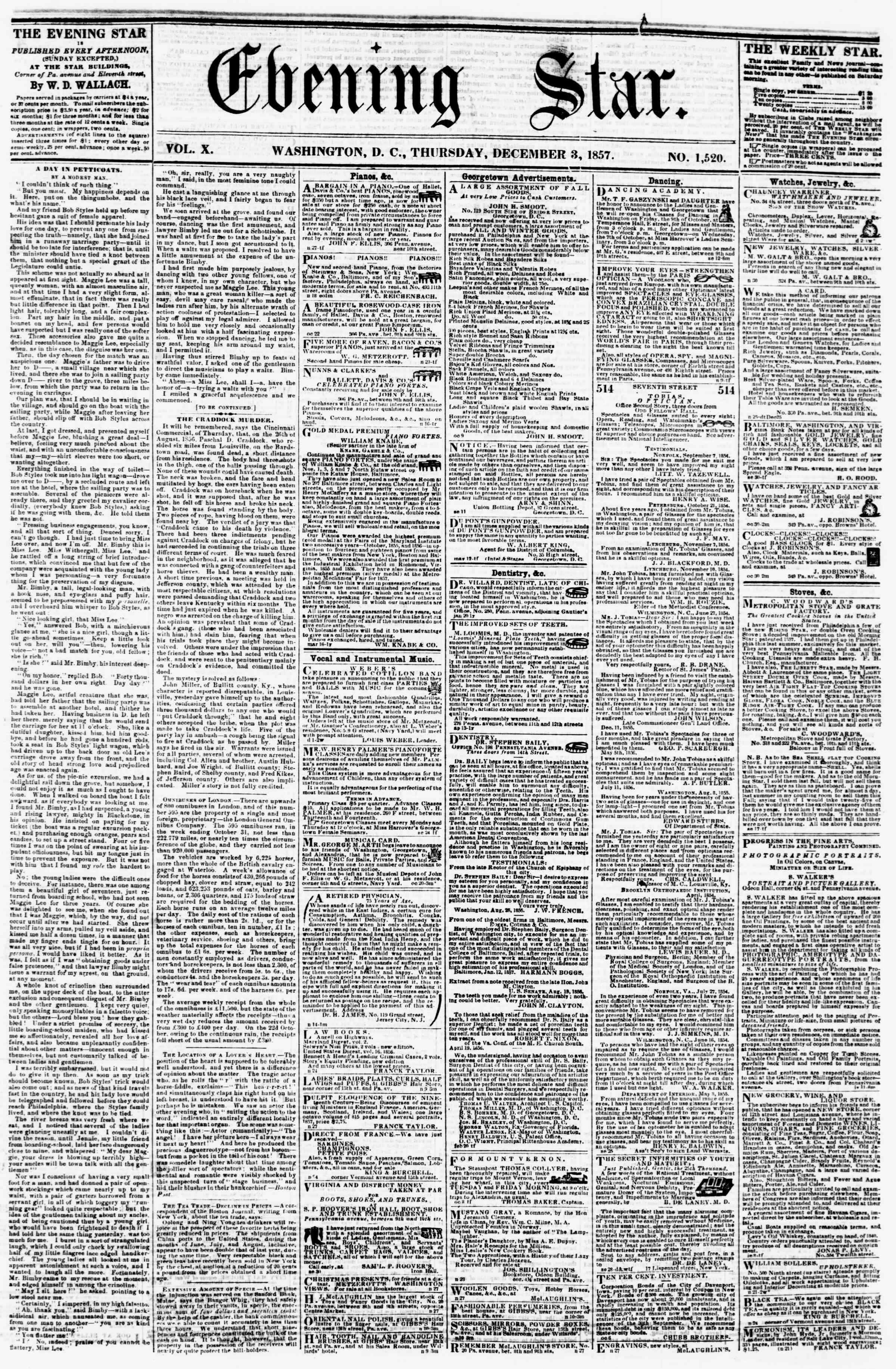 Newspaper of Evening Star dated December 3, 1857 Page 1