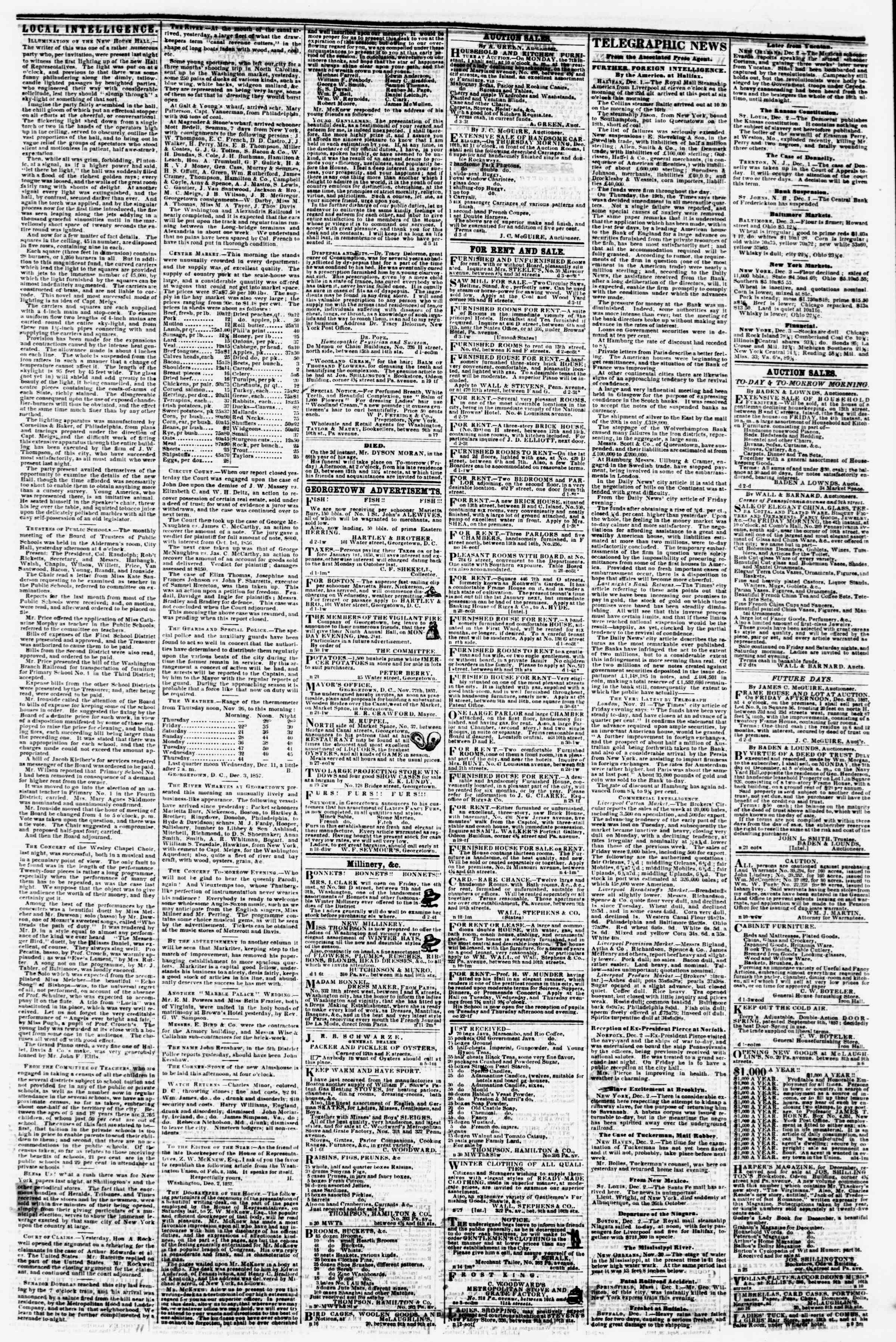 Newspaper of Evening Star dated December 3, 1857 Page 3