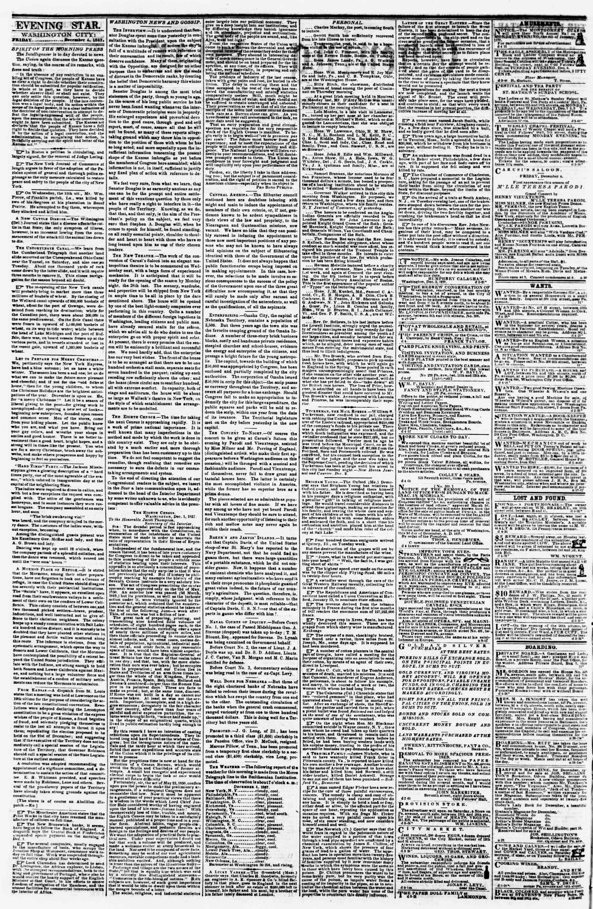 Newspaper of Evening Star dated December 4, 1857 Page 2