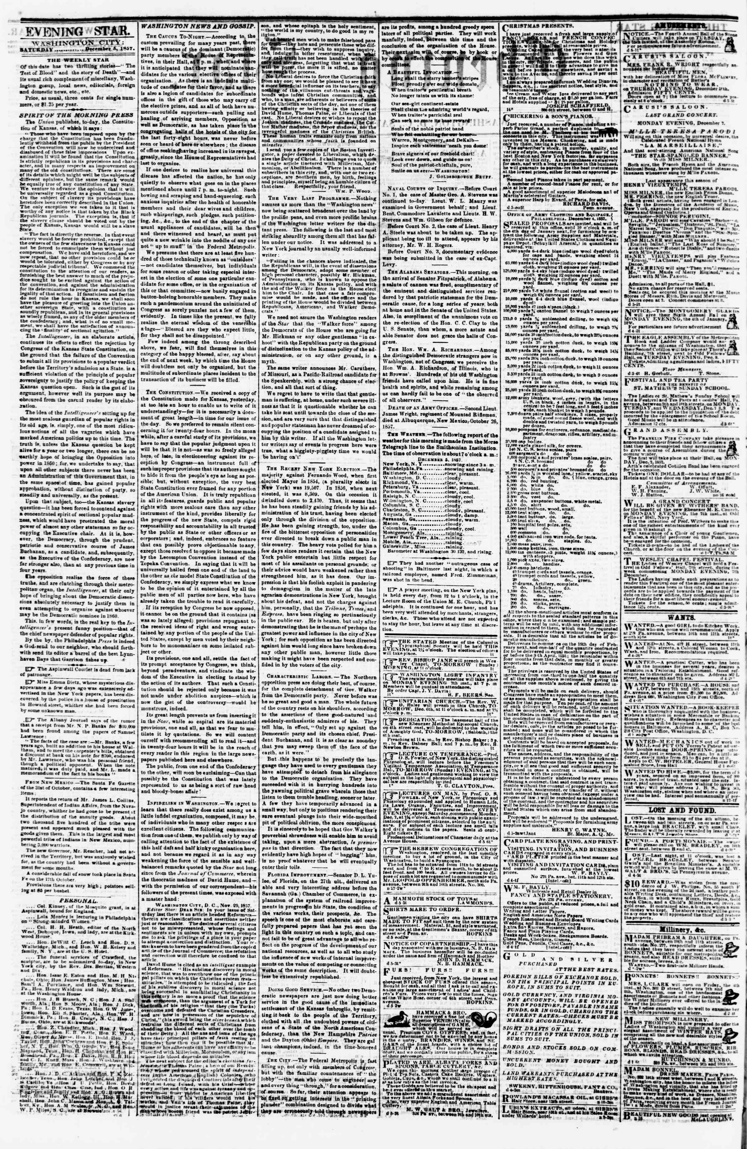 Newspaper of Evening Star dated December 5, 1857 Page 2